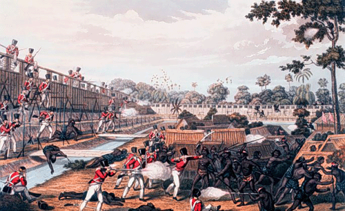 Depiction of the First Anglo-Burmese War in the 1820s (Image courtesy of allthingsburmese.com)