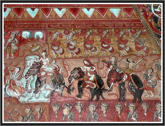 Pagan Empire war mural from the 15th century CE