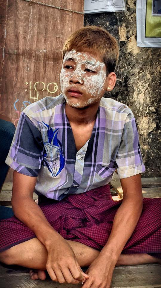 A Rakhine boy here wears a thick mask of Thanaka, one of many we saw in this part of the country.