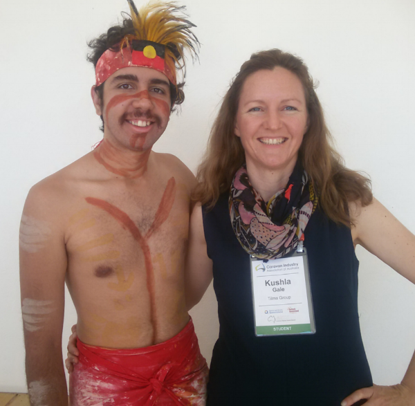 Tilma's Kushla Gale with a Mandandanji man from Maranoa region around Roma, Qld. The Mandandanji do an amazing Welcome to Country that shares the meaning behind cultural elements.