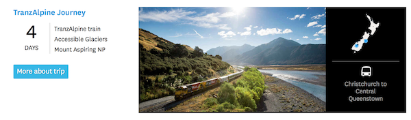 Screenshot of an itinerary from  newzealand.com