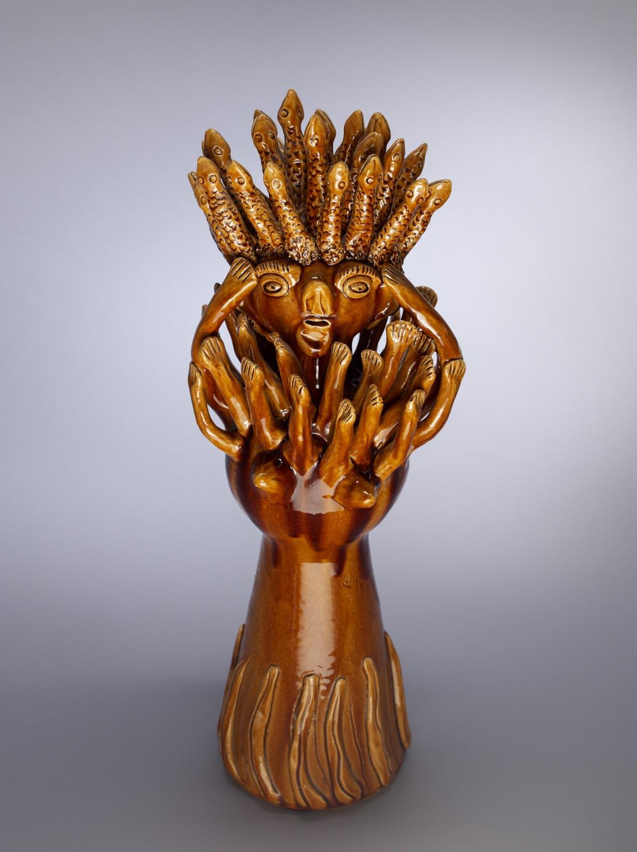 Portuguese ceramic representation of Medusa. Photographed for Dr. Anthony Shelton's book, Heaven & Hell, 2014. MOA CAT: 2956/16 c.2012 by Julia Ramalho. Portugal: Braga, Barcelos