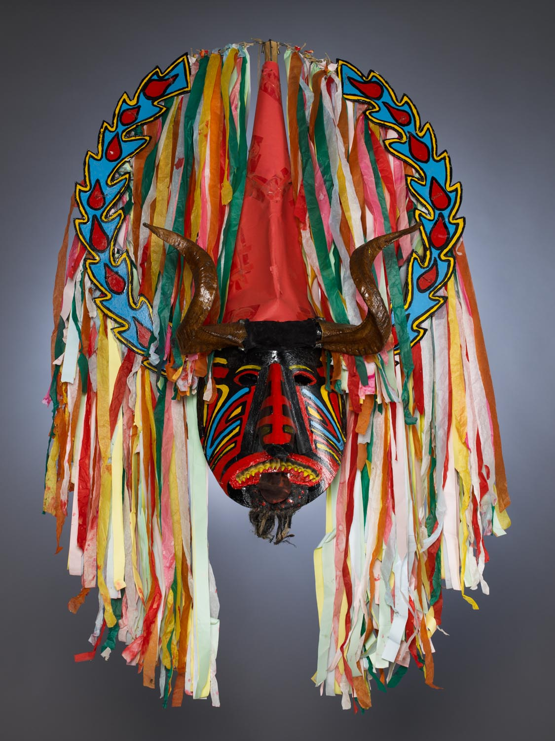 Portuguese Masquerade Costume Mask. Photographed for Dr. Anthony Shelton's book: Heaven & Hell, 2014. MOA CAT: 2956/199 a c.2010. By Caretos da Lagoa, Portugal: Coimbra, Mira