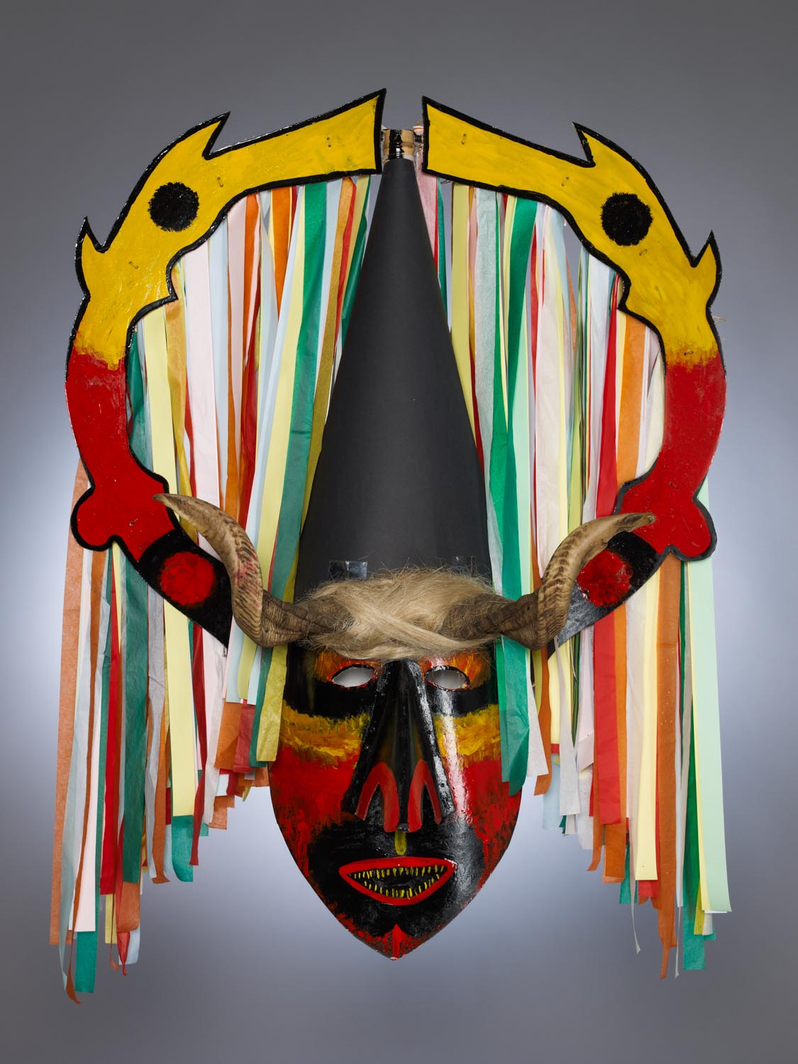 Portuguese Masquerade Costume Mask. Photographed for Dr. Anthony Shelton's book: Heaven & Hell, 2014. MOA CAT: 2956/200 a c.2010. By Caretos da Lagoa, Portugal: Coimbra, Mira.