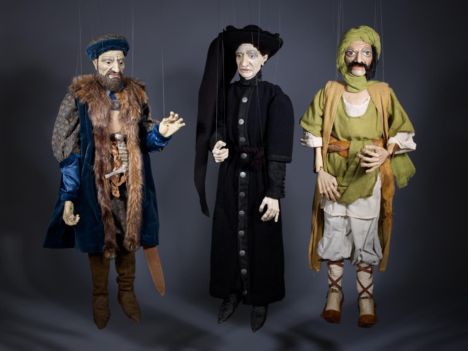 """Three characters from the Portuguese epic poem, """"Os Lusíadas""""made by Jorge Cerqueira. Photographed for Dr. Anthony Shelton's book Heaven & Hell. MOA CAT: 2956/295 a-b, 2956/296, 2956/299 c.2012 Portugal: Lisboa, Sintra"""