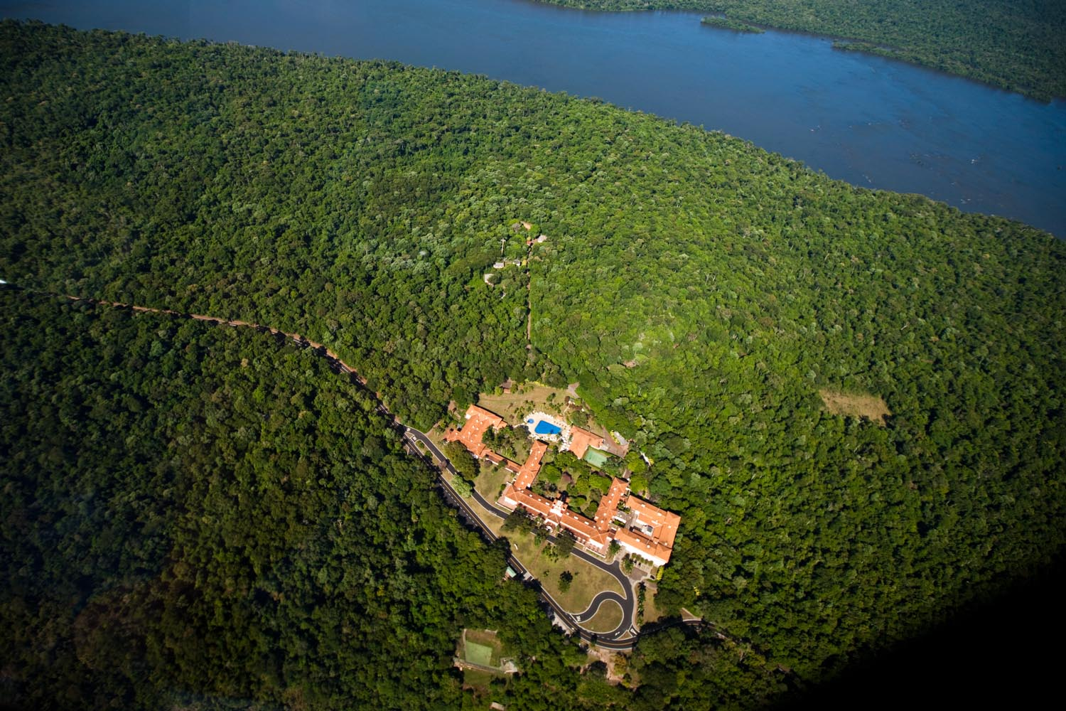 Aerial view of the Iguazu river and the visitor center