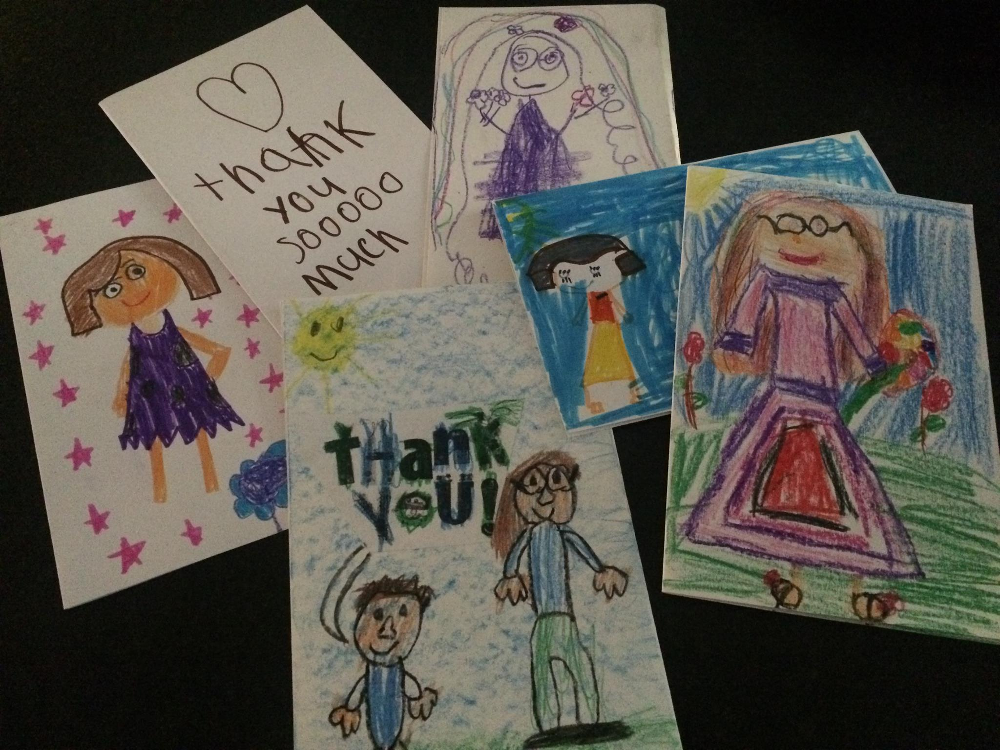 Heartfelt thank you notes from the children at West Rock Authors Academy in New Haven, Connecticut