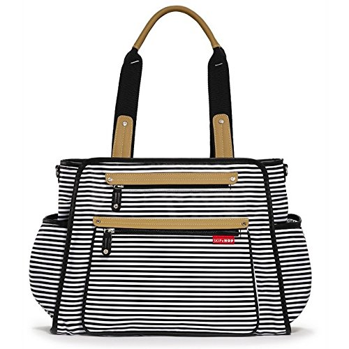 - I don't have this striped bag but I have this in a black version and it is easily my favorite bag of all time! It has been so many places with me and I have been able to take so much with me because of this bag! The top zippered compartment is perfect for cell phone storage...it's great for people like me who lose everything and need a place for everything! Also, when my sister dumped an entire cup of coffee on my purse it cleaned up beautifully!