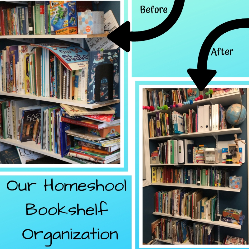 We are organizing and decluttering in an effort to get more homeschool books to somehow fit on these shelves.  Wish us luck!