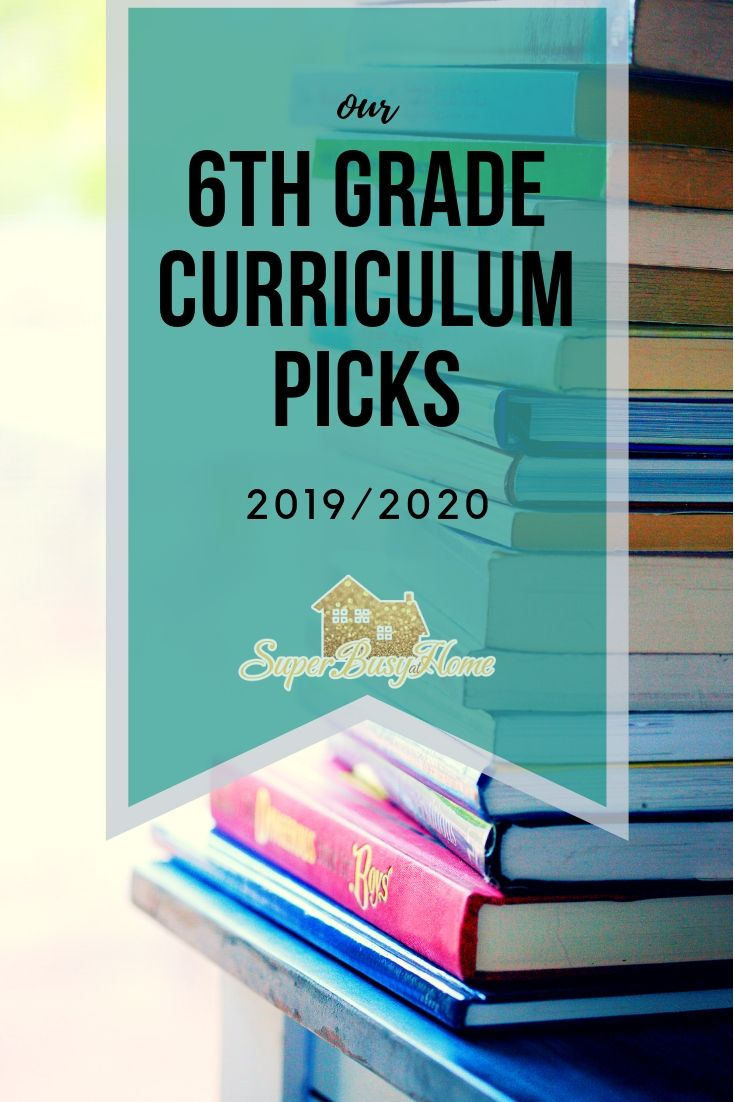 6th Grade Curriculum for our 2019/2020 Homeschool Year.