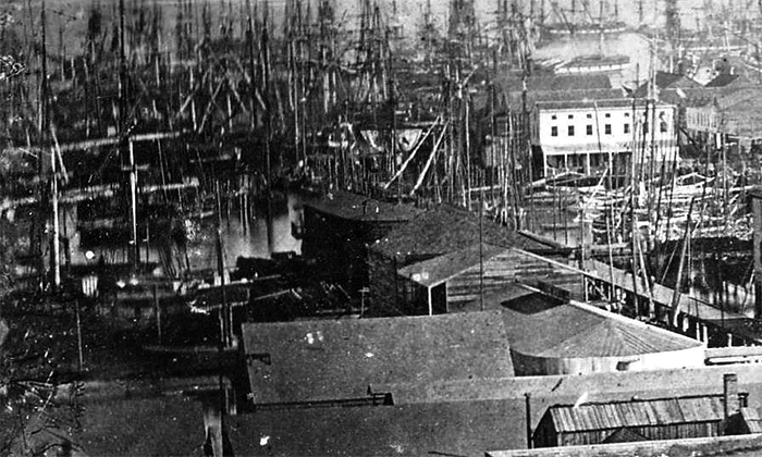Photograph of the financial district circa 1851