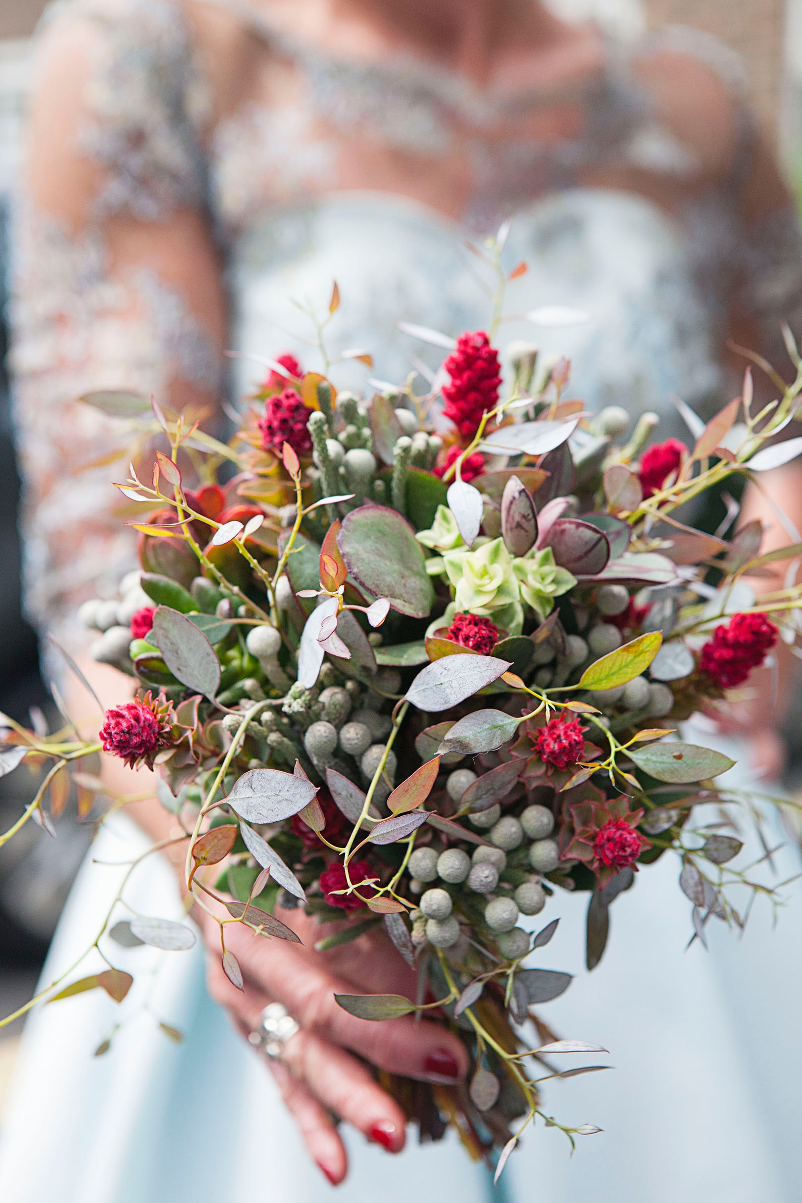 Sarah's bouquet made from succulents, eucalyptus and South African foliage