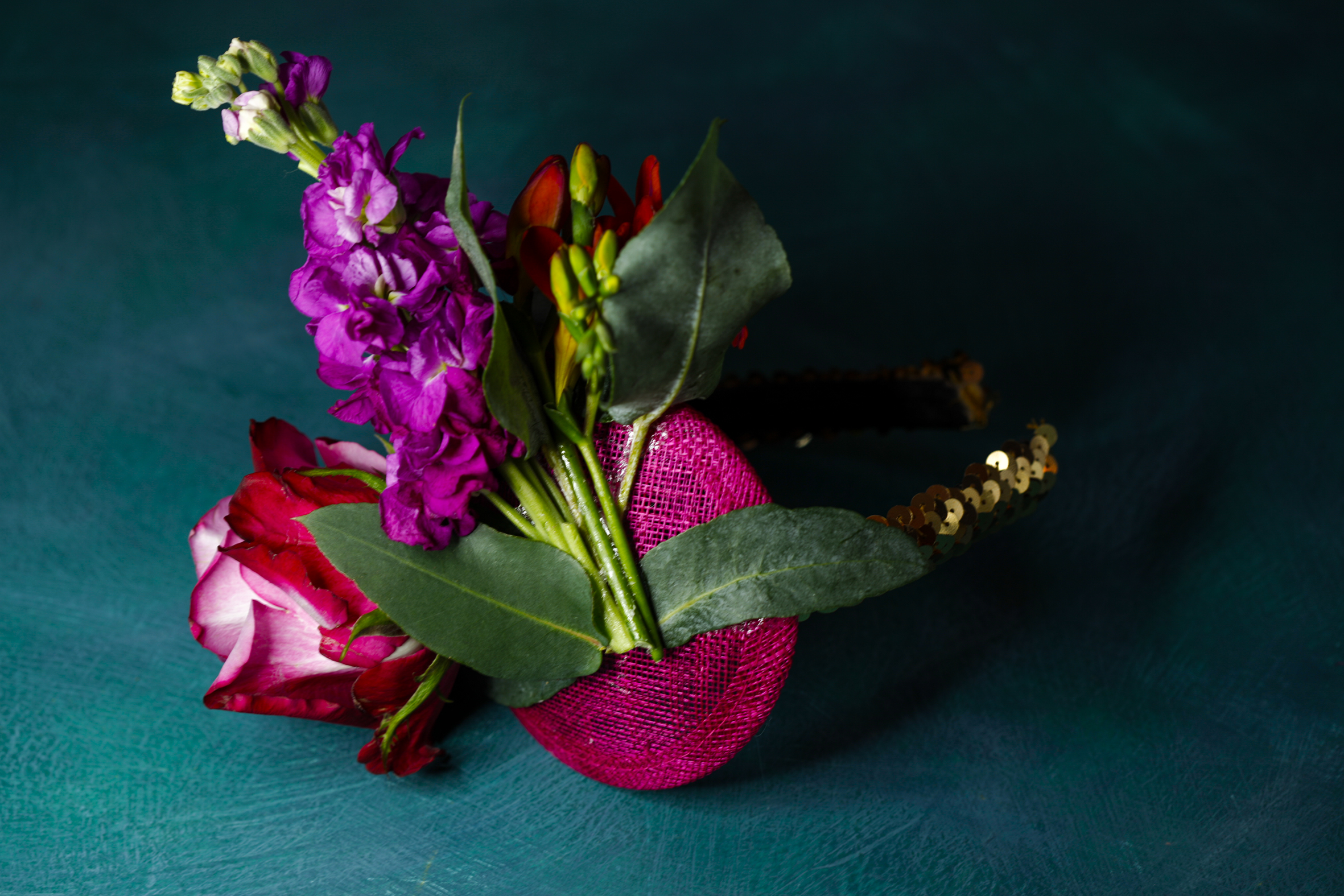 D&G inspired sequin headband, sticking the flowers