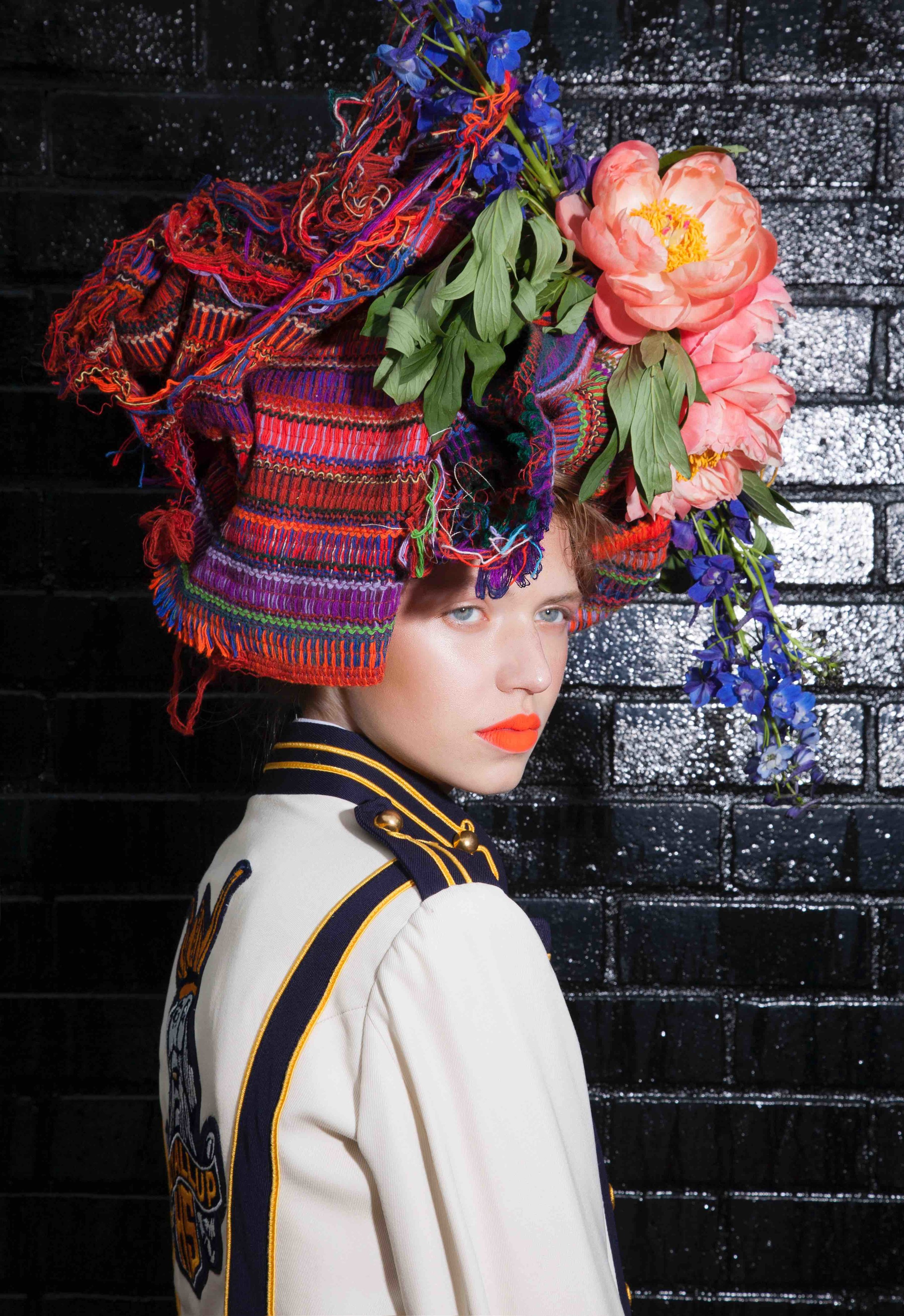 Fabric turban with peonies & delphiniums
