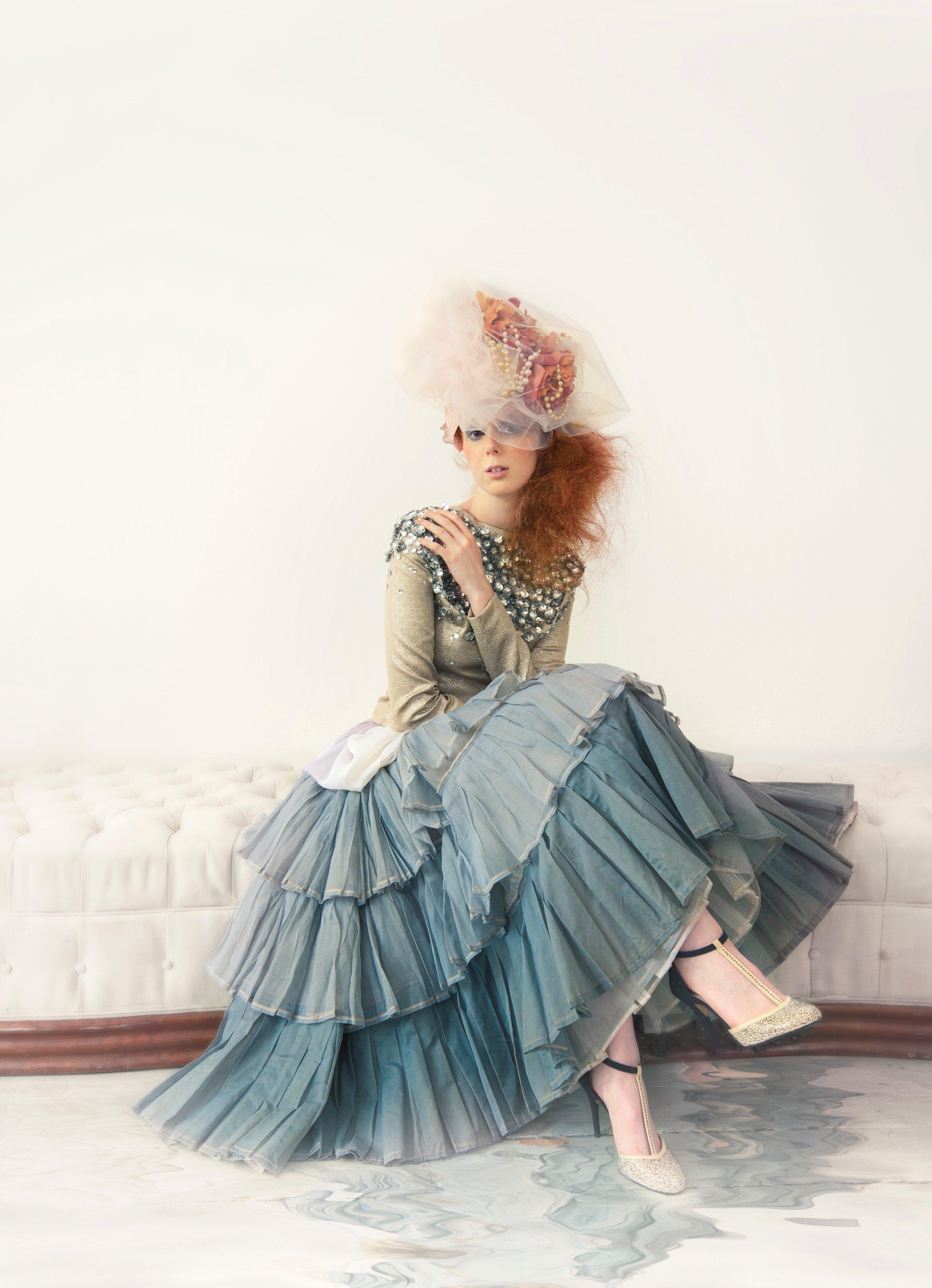 Tulle, rose & pearl headpiece