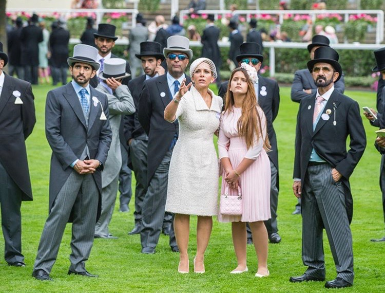 HH Sheikha Al-Jalila in bespoke floral fashion for Royal Ascot