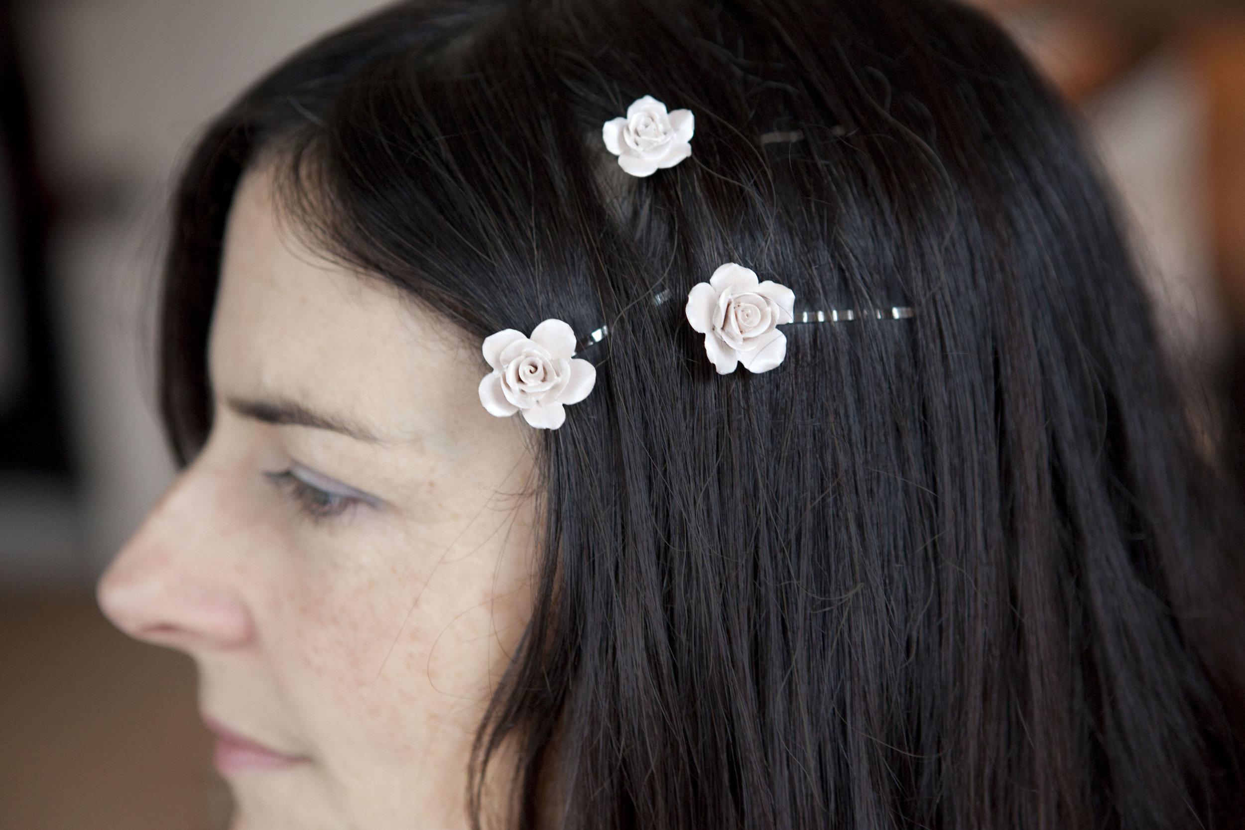 Porcelain hair slides