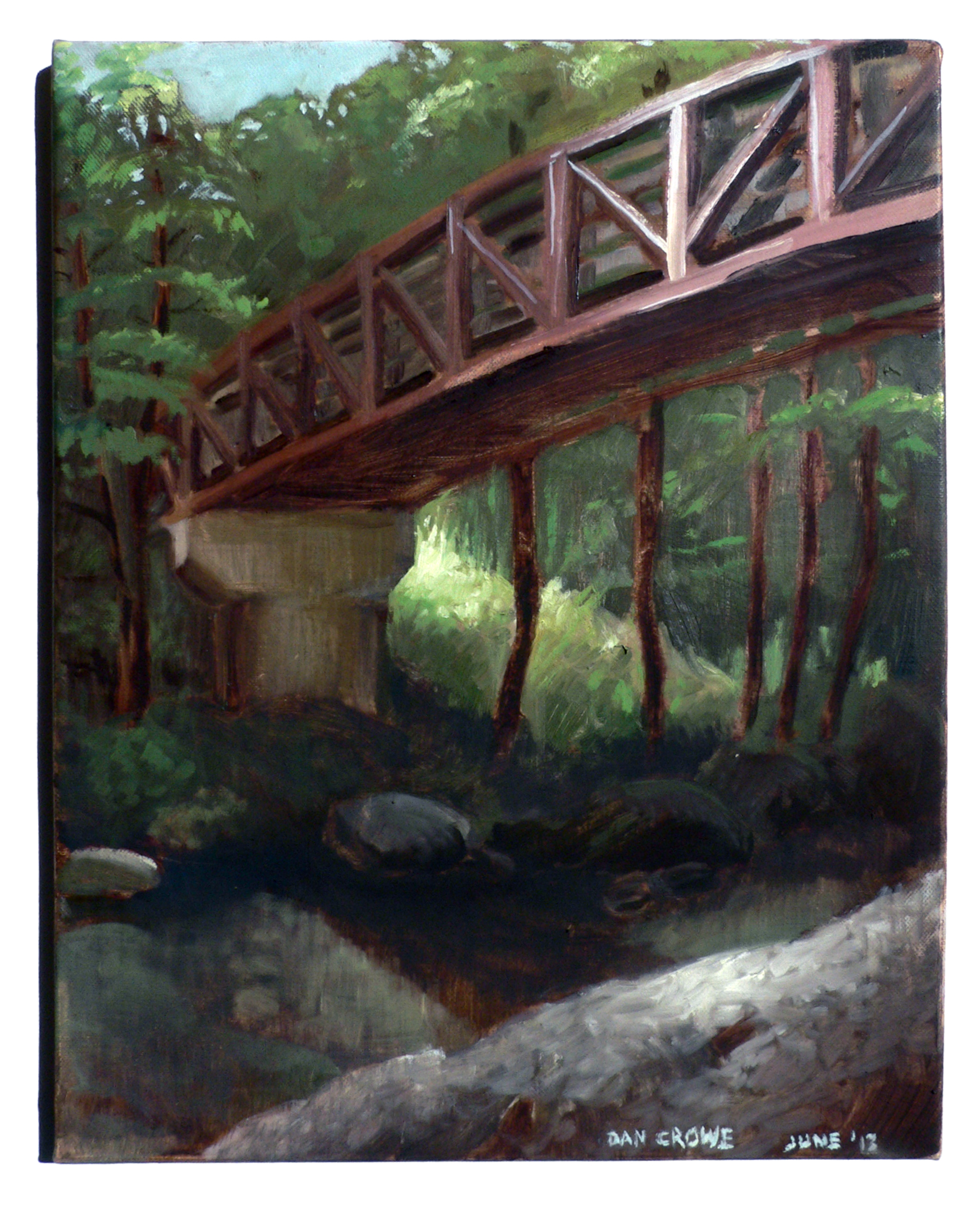 Brandy Creek Bridge, Whiskeytown, CA , 14 x 10 in.  Oil on canvas. Available for purchase. (2013)