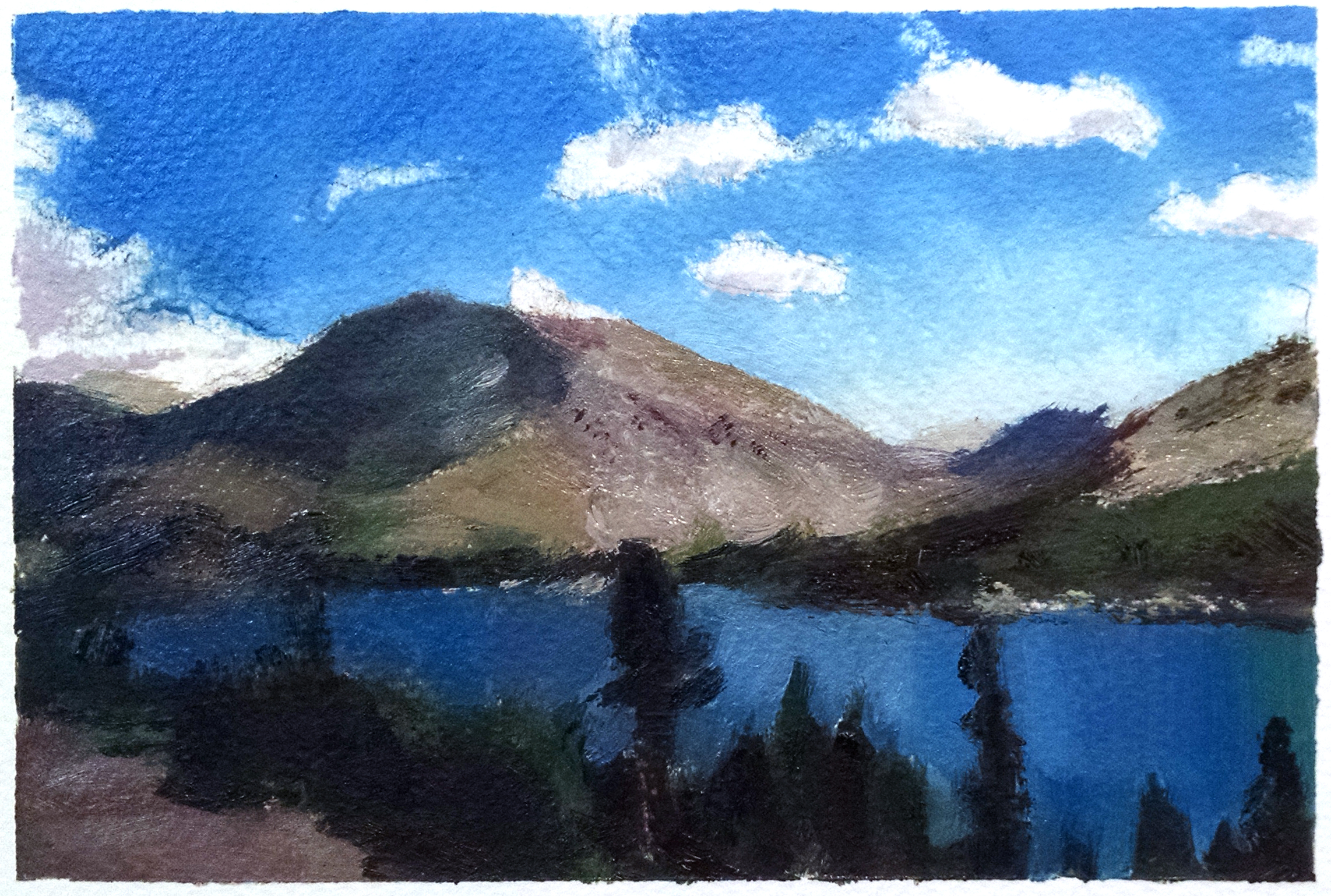 East Yosemite Lake , 4 x 6 in.  Oil on paper. Private collection. (2015)