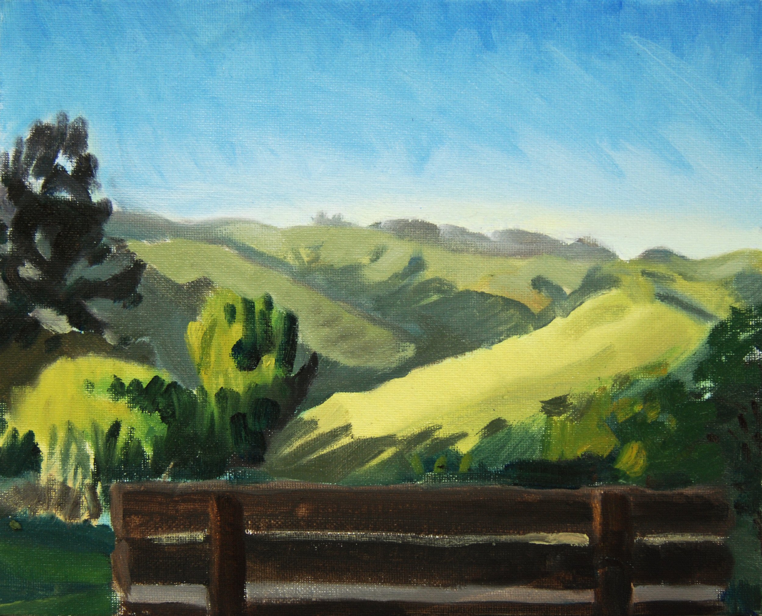 Berkeley Hills, Looking Inland , 8 x 10 in.  Oil on canvas. Private collection. (2015)
