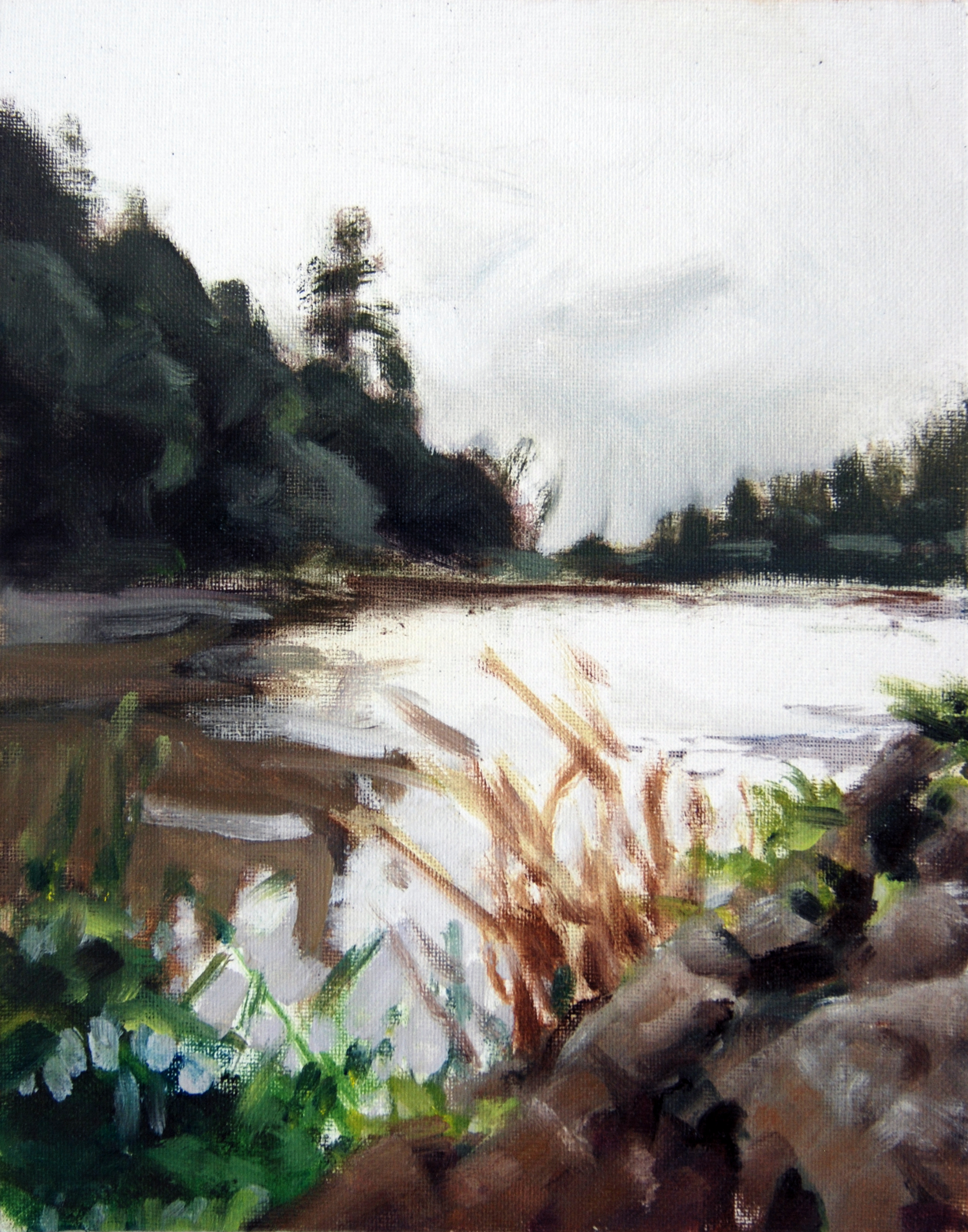 Lake Temescal, Overcast , 10 x 8 in.  Oil on canvas. Private collection. (2015)