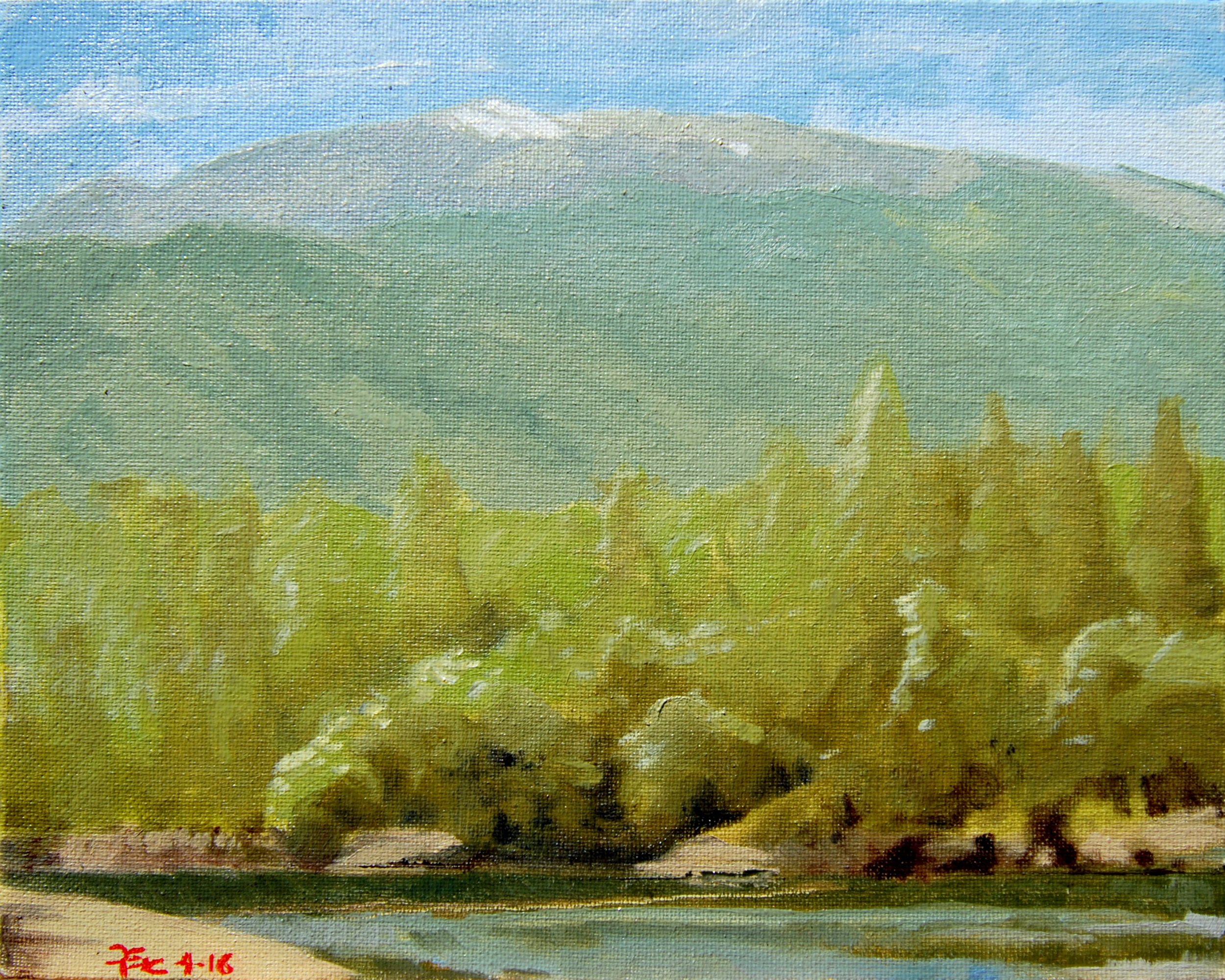 Shasta Bally with April Snow,  8 x 10 in.  Oil on canvas. Available for purchase. (2016)