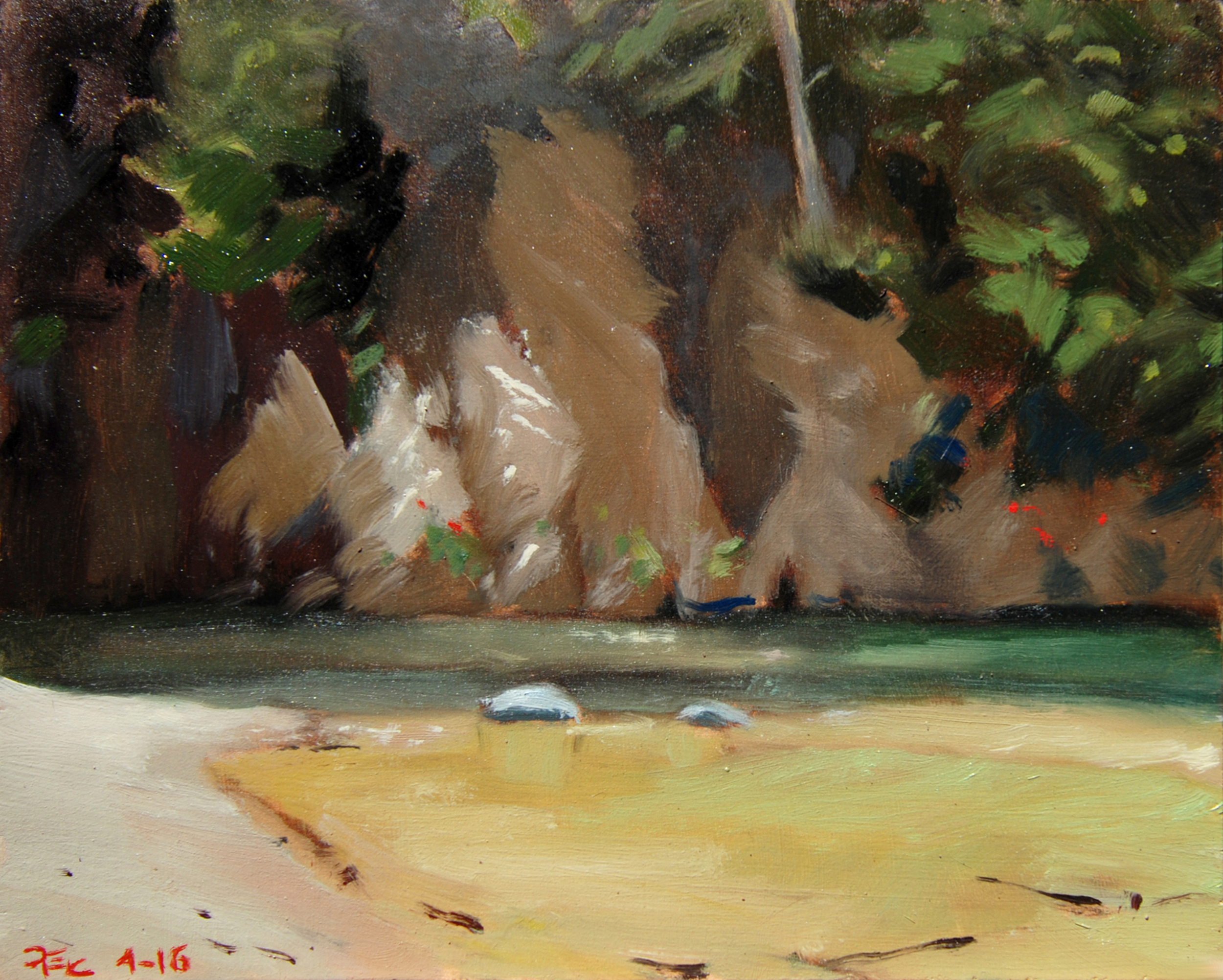 Brandy Creek Sandbar , 8 x 10 in.  Oil on panel. Available for purchase. (2016)