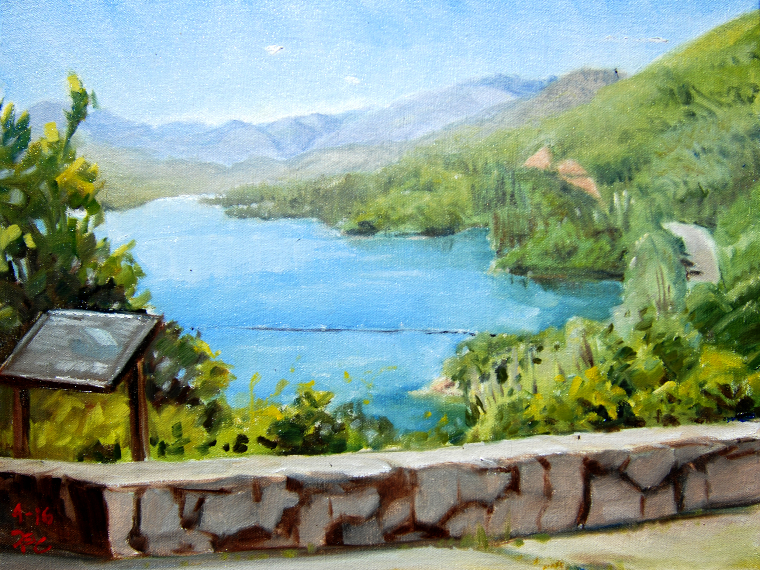 Whiskeytown Lake , 12 x 16 in.  Oil on canvas. Available for purchase. (2016)