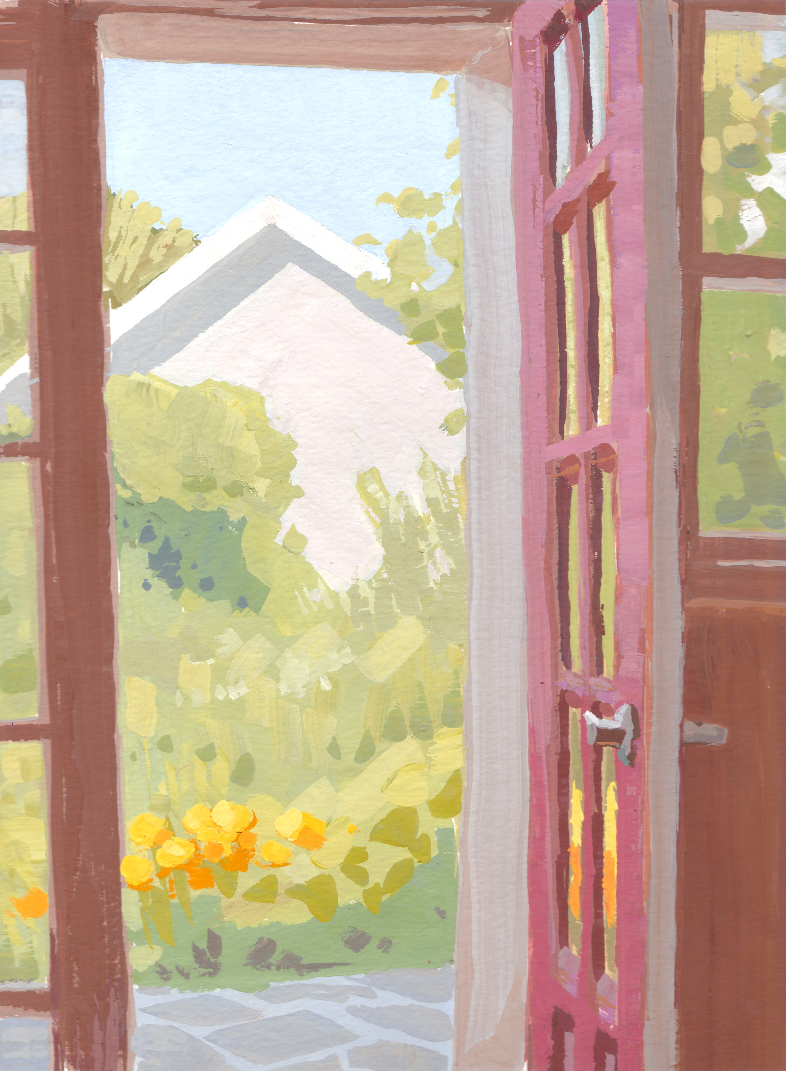 Kitchen Door to the Garden,  12 x 9 in.  Gouache on paper. Available for purchase. (2016)