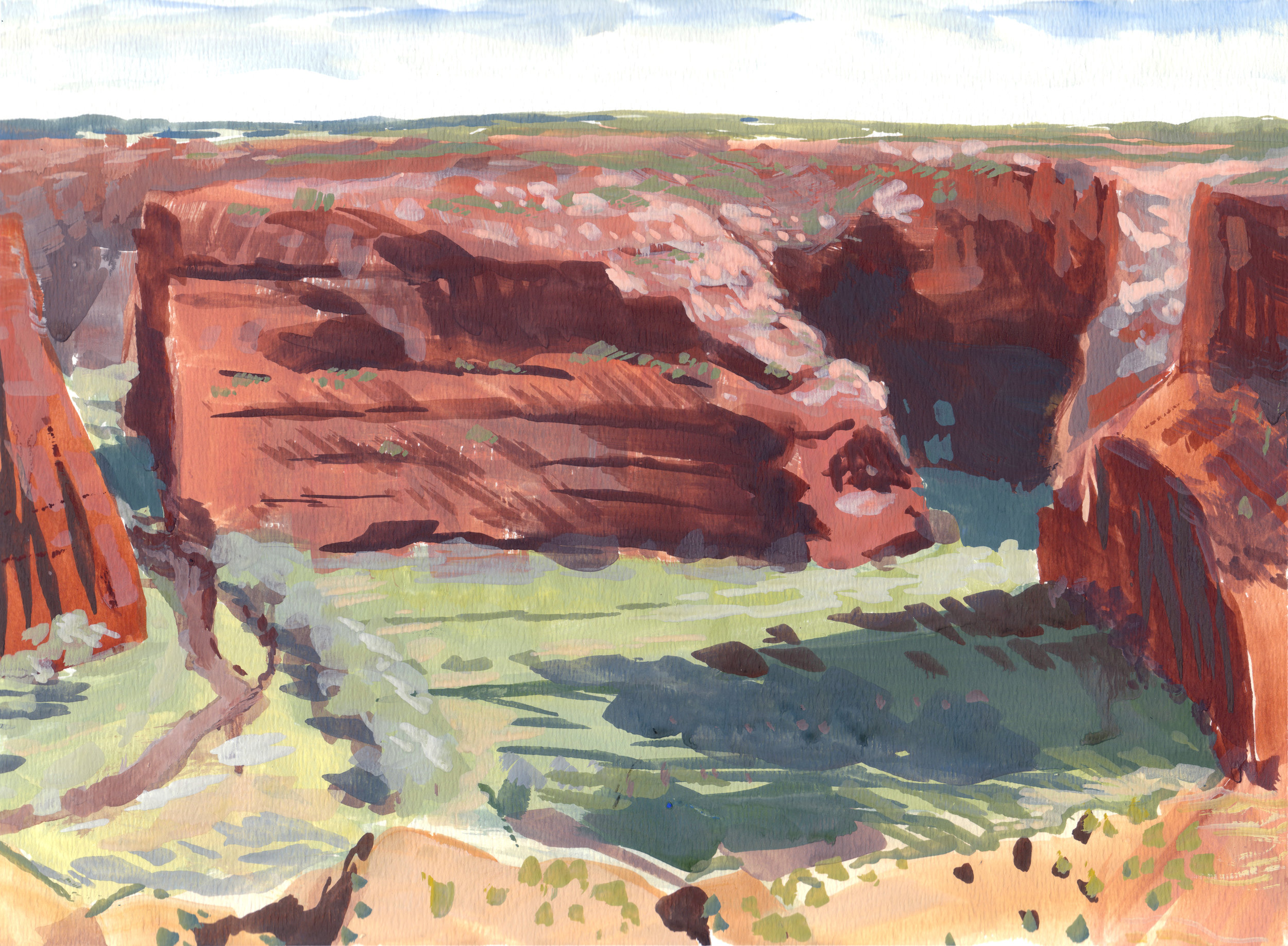 Canyon de Chelly,  9 x 12 in.  Gouache on paper. Available for purchase. (2017)