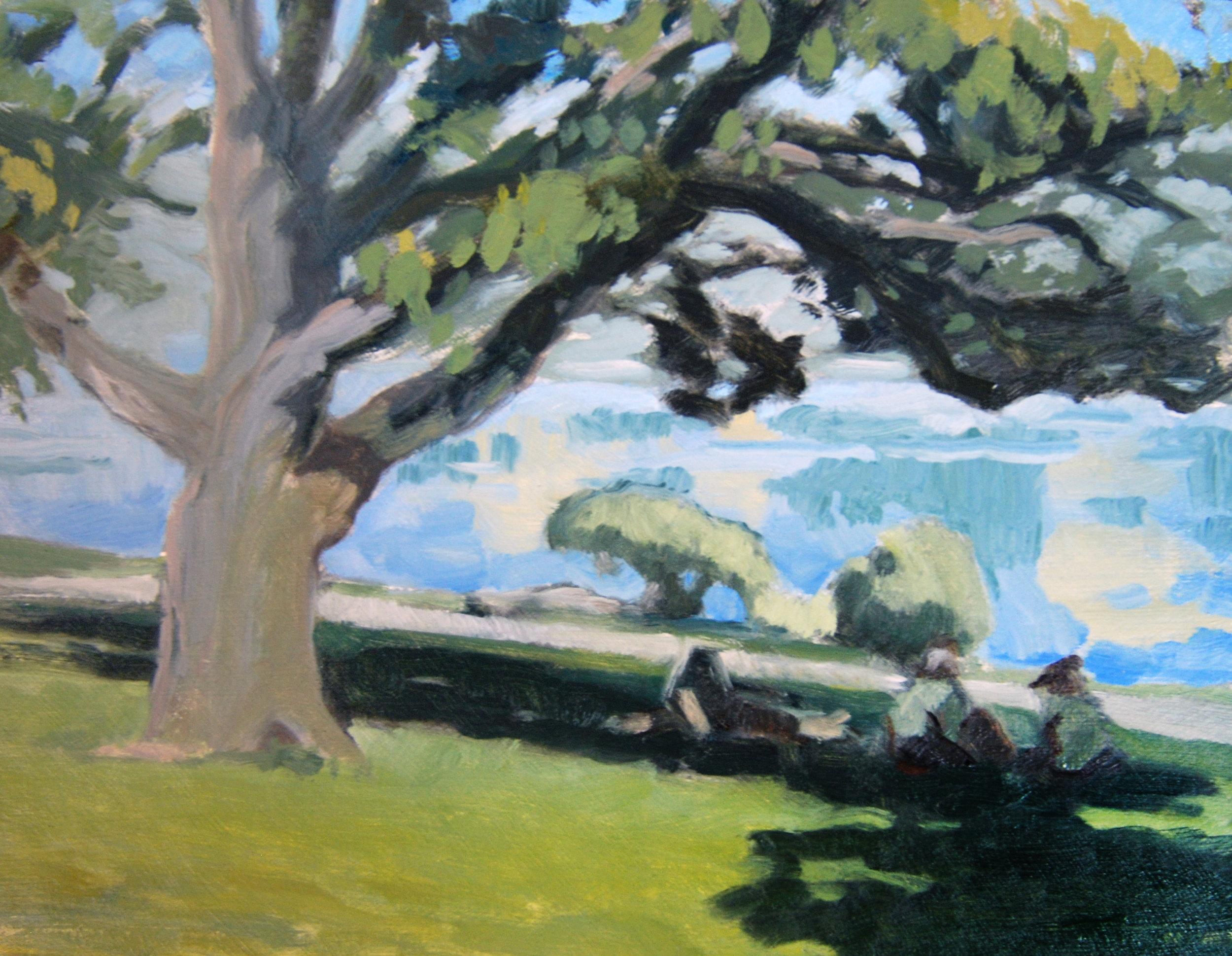 Le Déjeuner sur Lake Merritt.  8 x 10 in.  Oil on panel. Private collection. (2017)