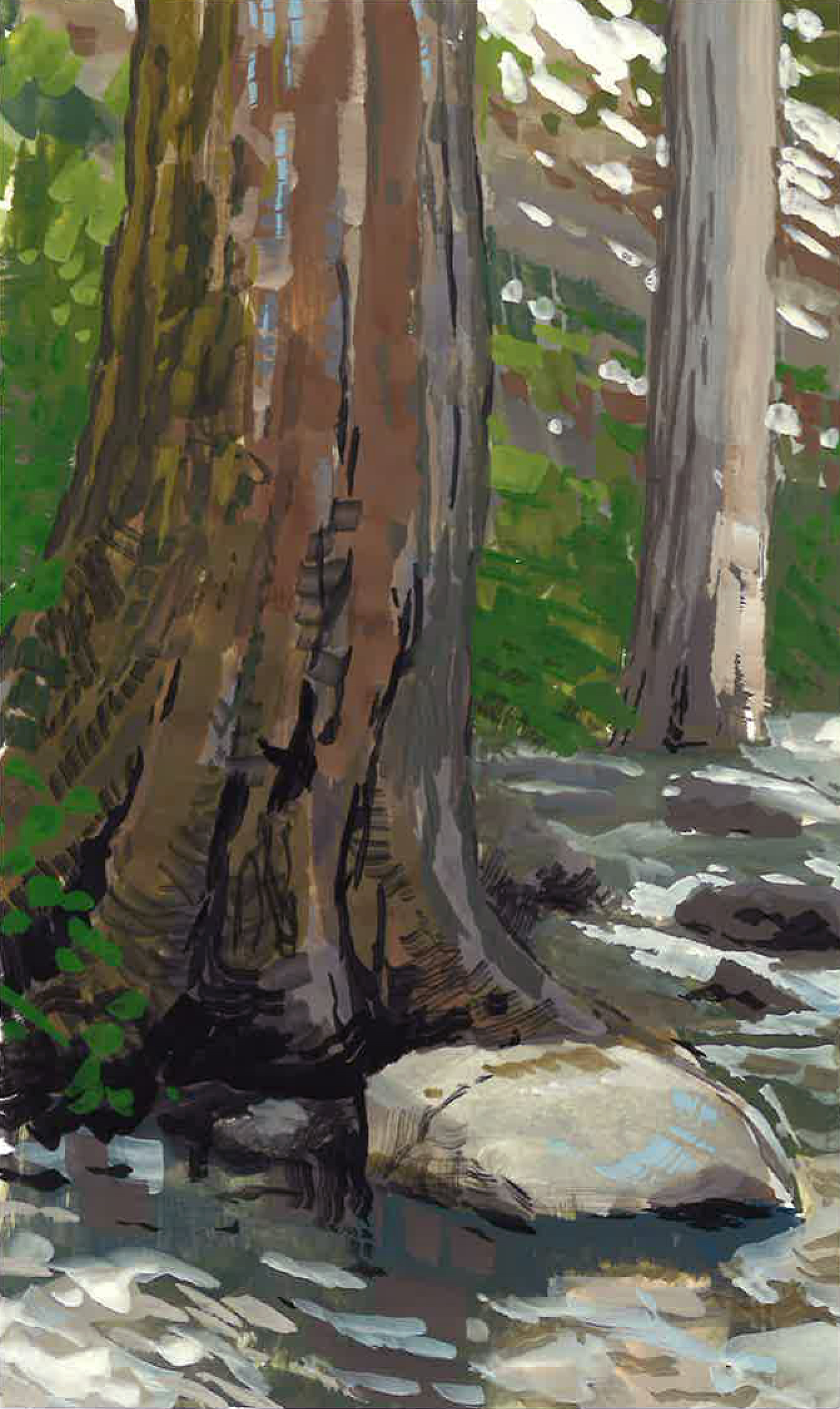 Sitting in the Nacimiento River , 4 x 8 in.  Gouache on paper. Private collection. (2017)