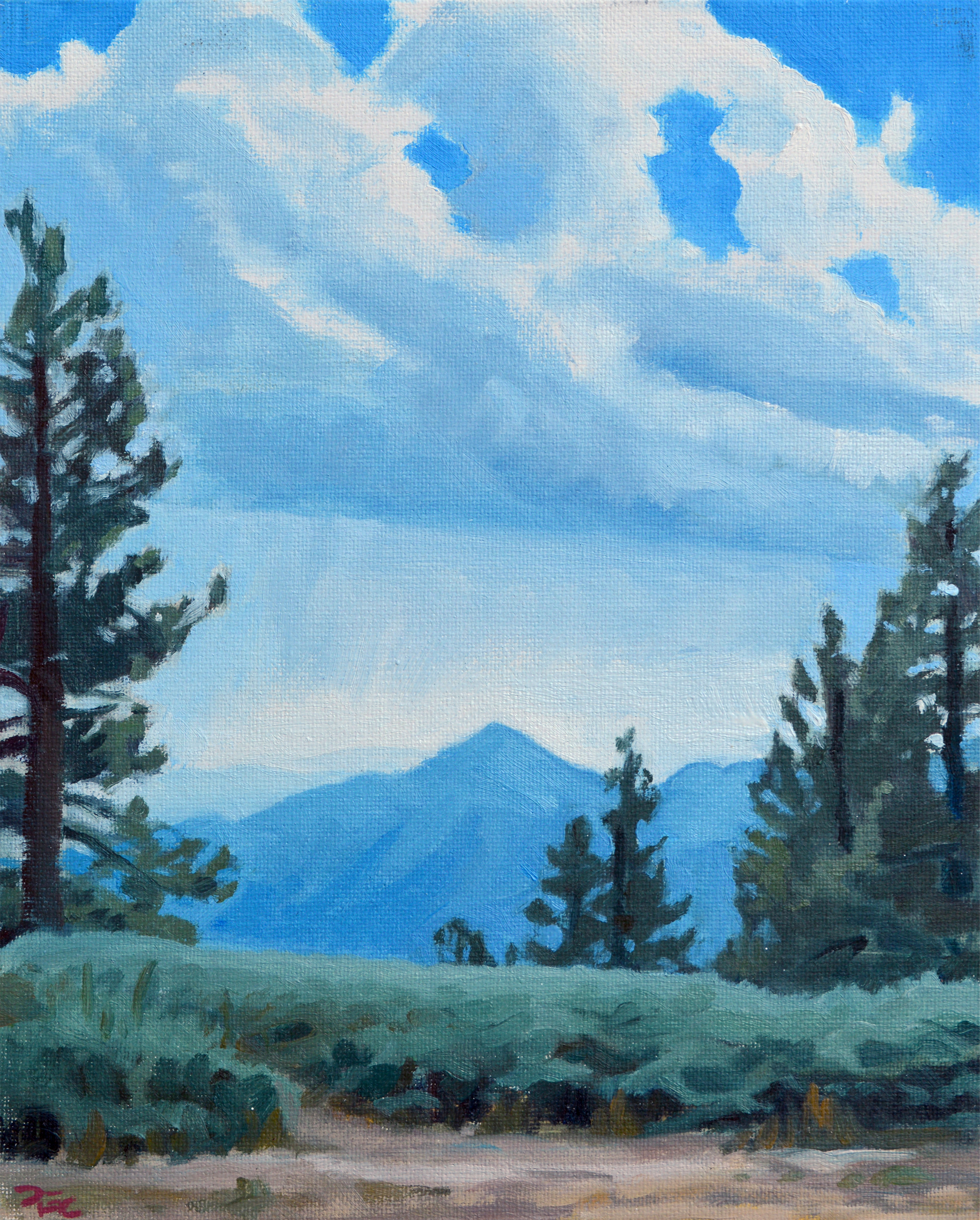 Monsoon over Wrightwood,  8 x 10 in.  Oil on canvas. In the collection of the National Park Service. (2017)