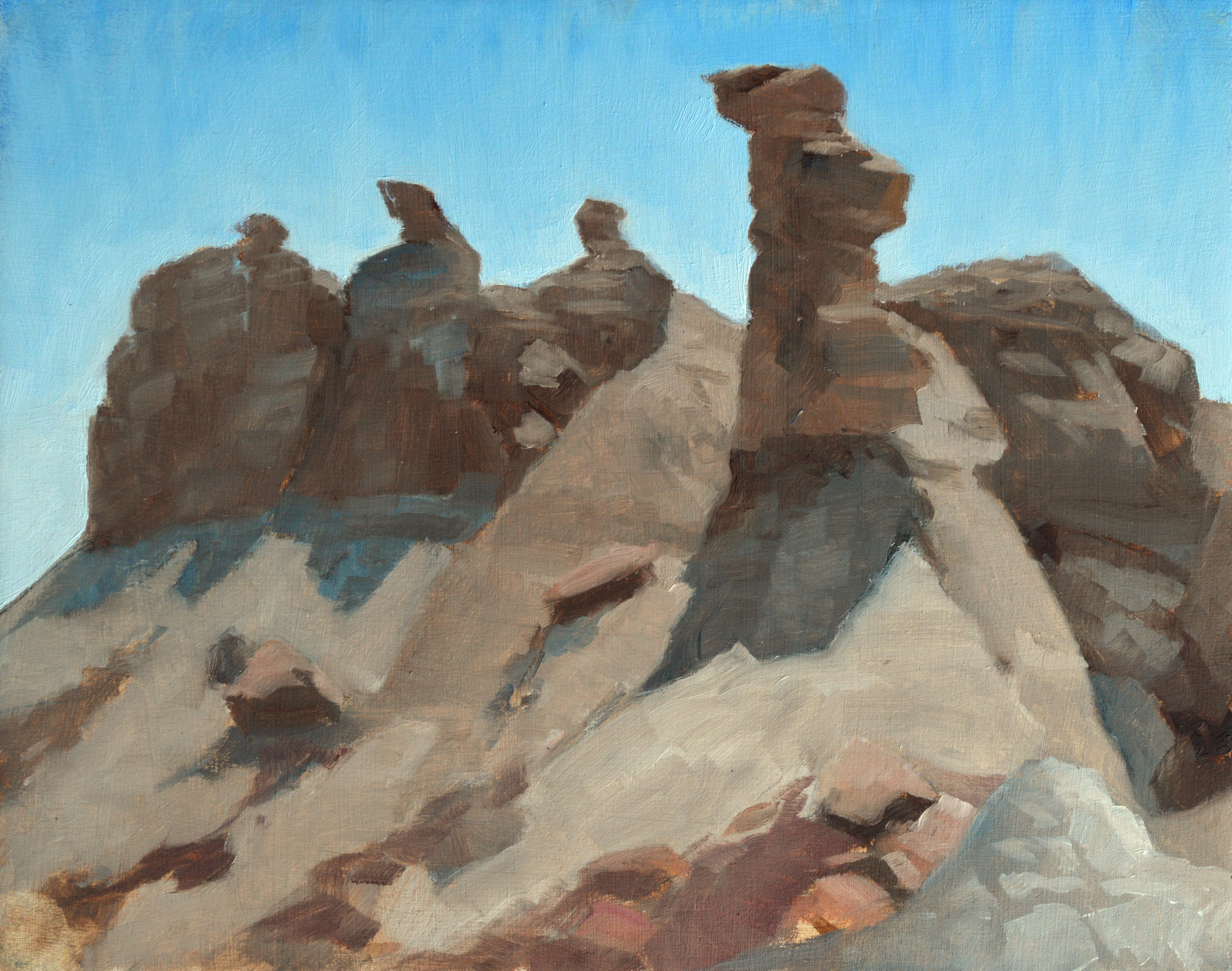 Red Basin Spires,  8 x 10 in.  Oil on panel. Available for purchase. (2017)