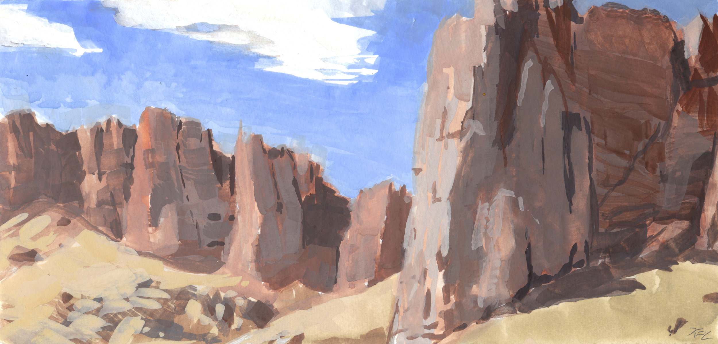 Clarno Palisades , 6 x 10 in.  Gouache on paper. Private collection. (2016)