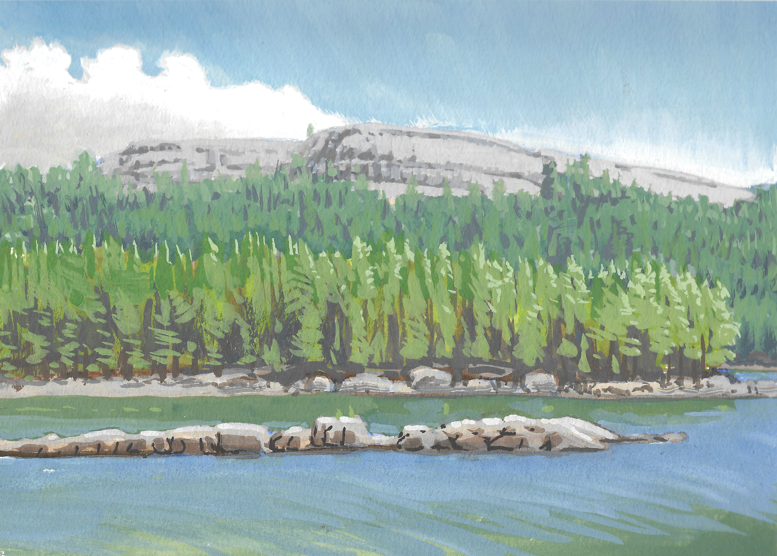 Alpine Lake with Ferguson Fire smoke,  9 x 12 in.  Gouache on paper. Available for purchase. (2018)