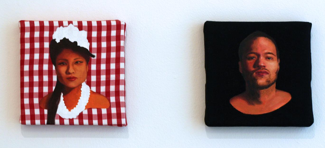 Ruby Chew, Gloria & Kane, Oil and Gesso on Fabrics, 15 x 15 cm, 2010