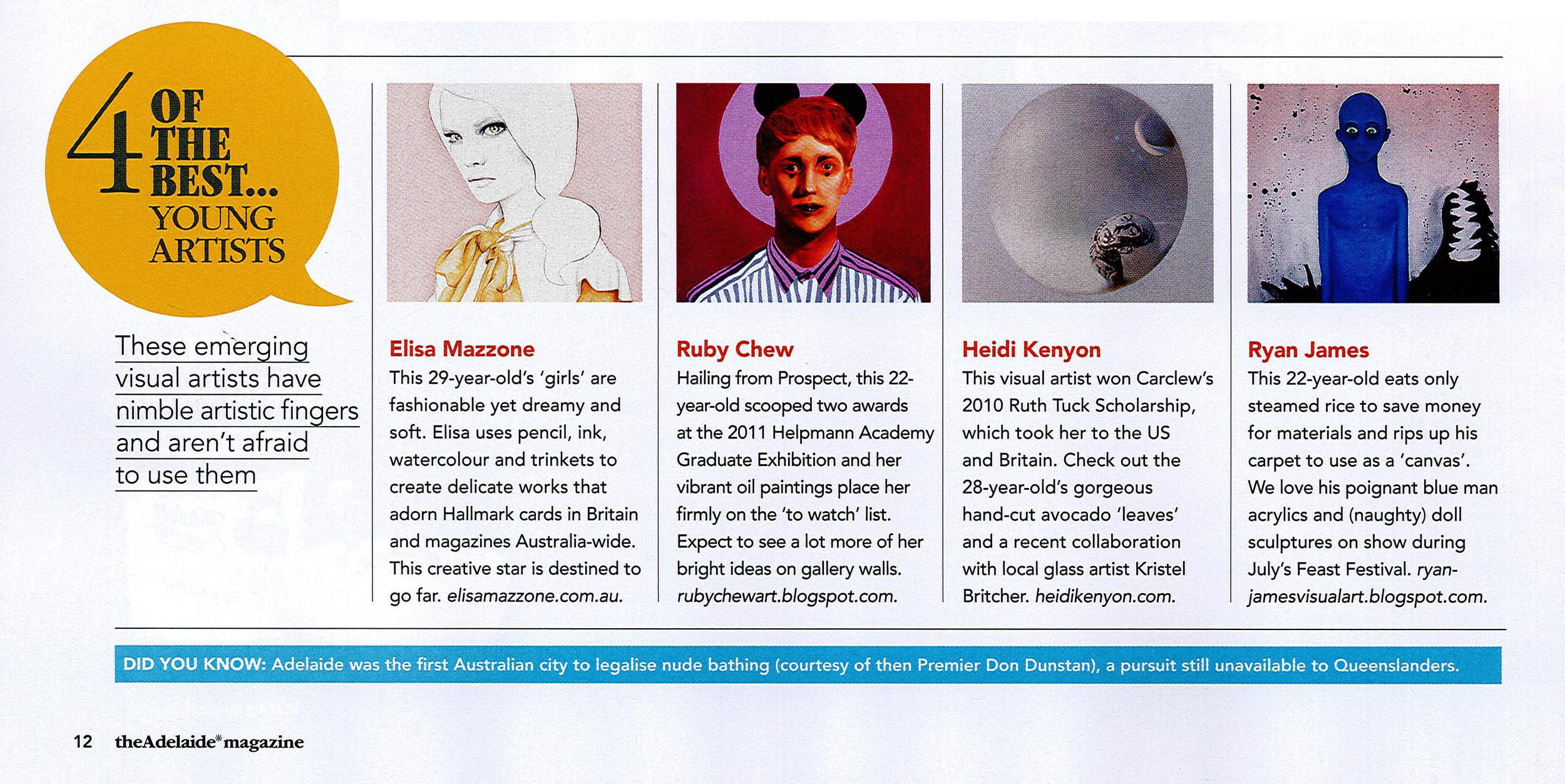 Best of the 4, Adelaide Magazine Best of Adelaide 2011, Dec 2011