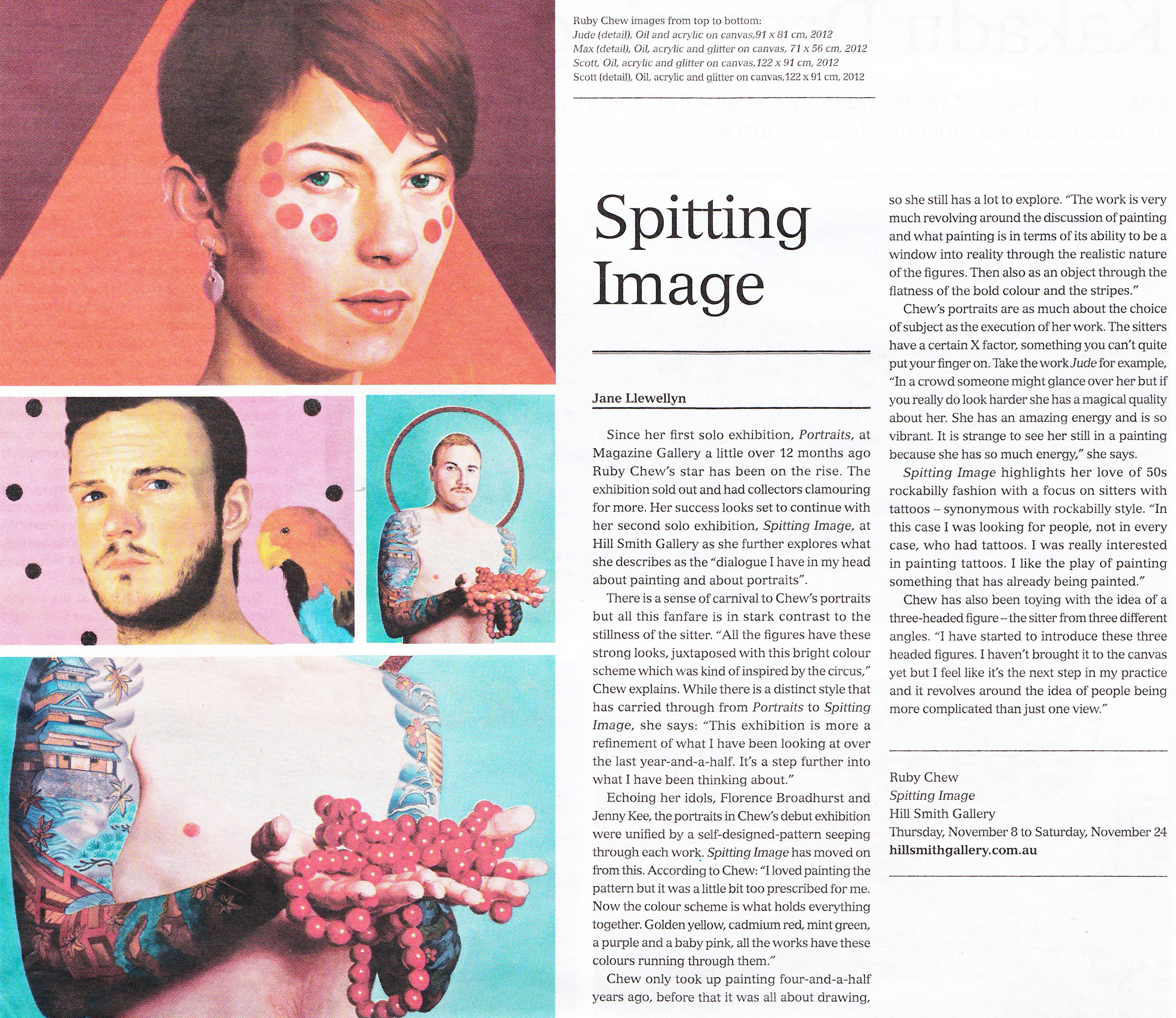Llewellyn L   , Spitting Image   , The Adelaide Review, Nov 2012