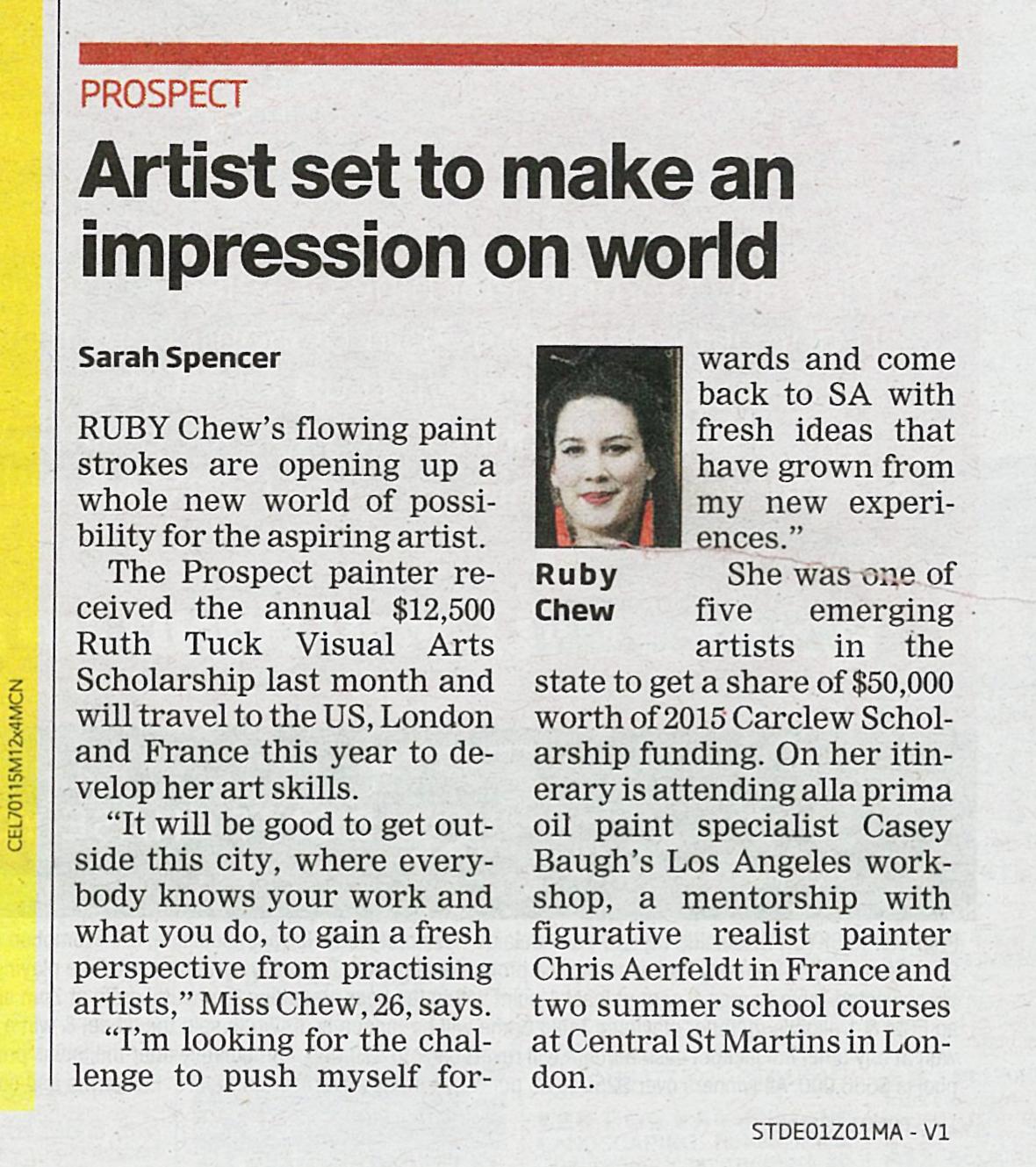 Spenser S,  Ruby Chew's Day, Artist Set to Make Impression on World,  The Messenger, Jan 2015