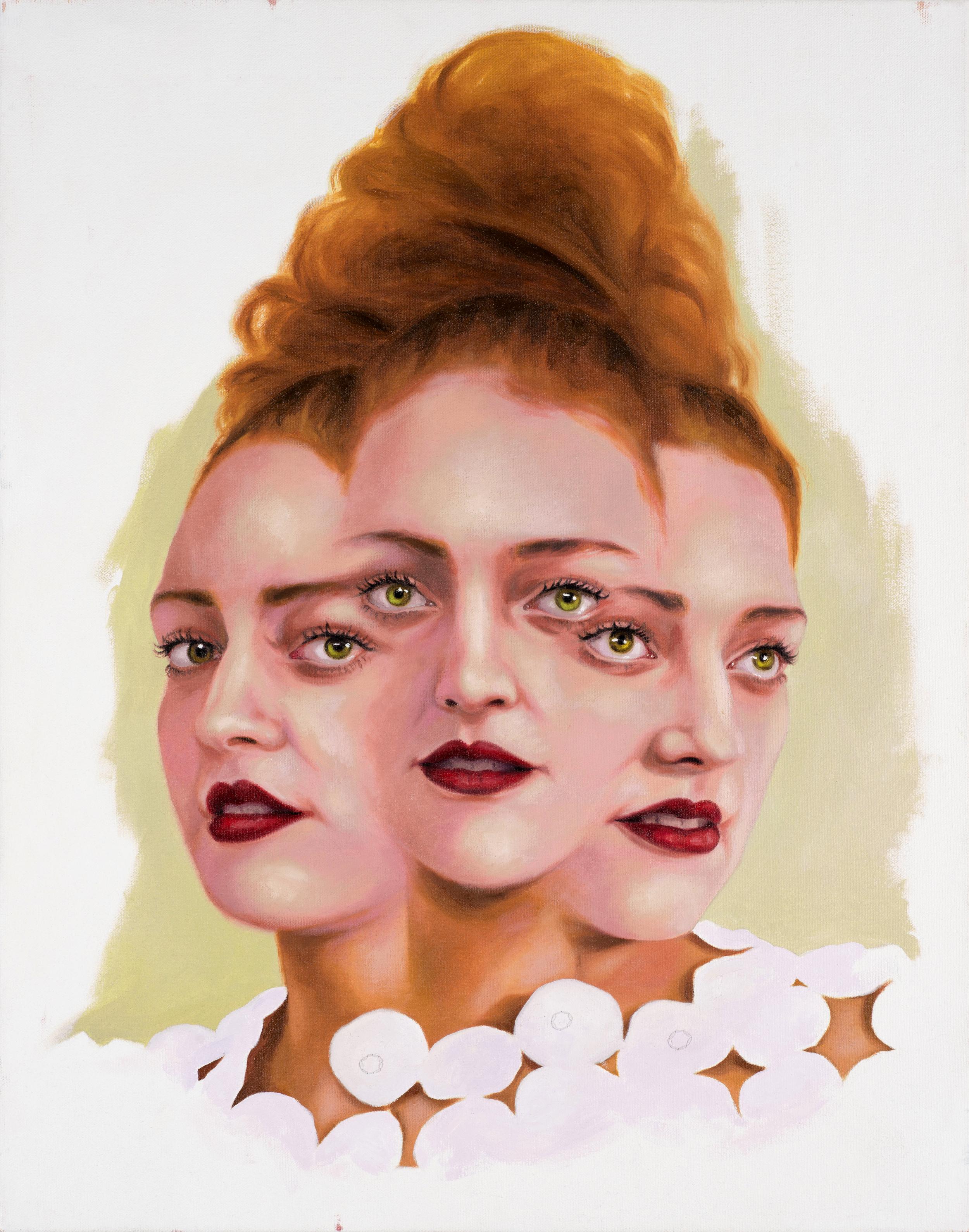Ruby Chew, Three Headed Sophie 71 x 56 cm, Oil,  Acrylic and Thread On Canvas