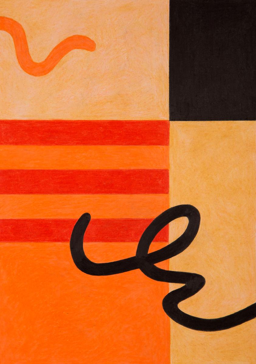 Ruby Chew, Orange Series 3, Coloured Pencil on Paper, 2018