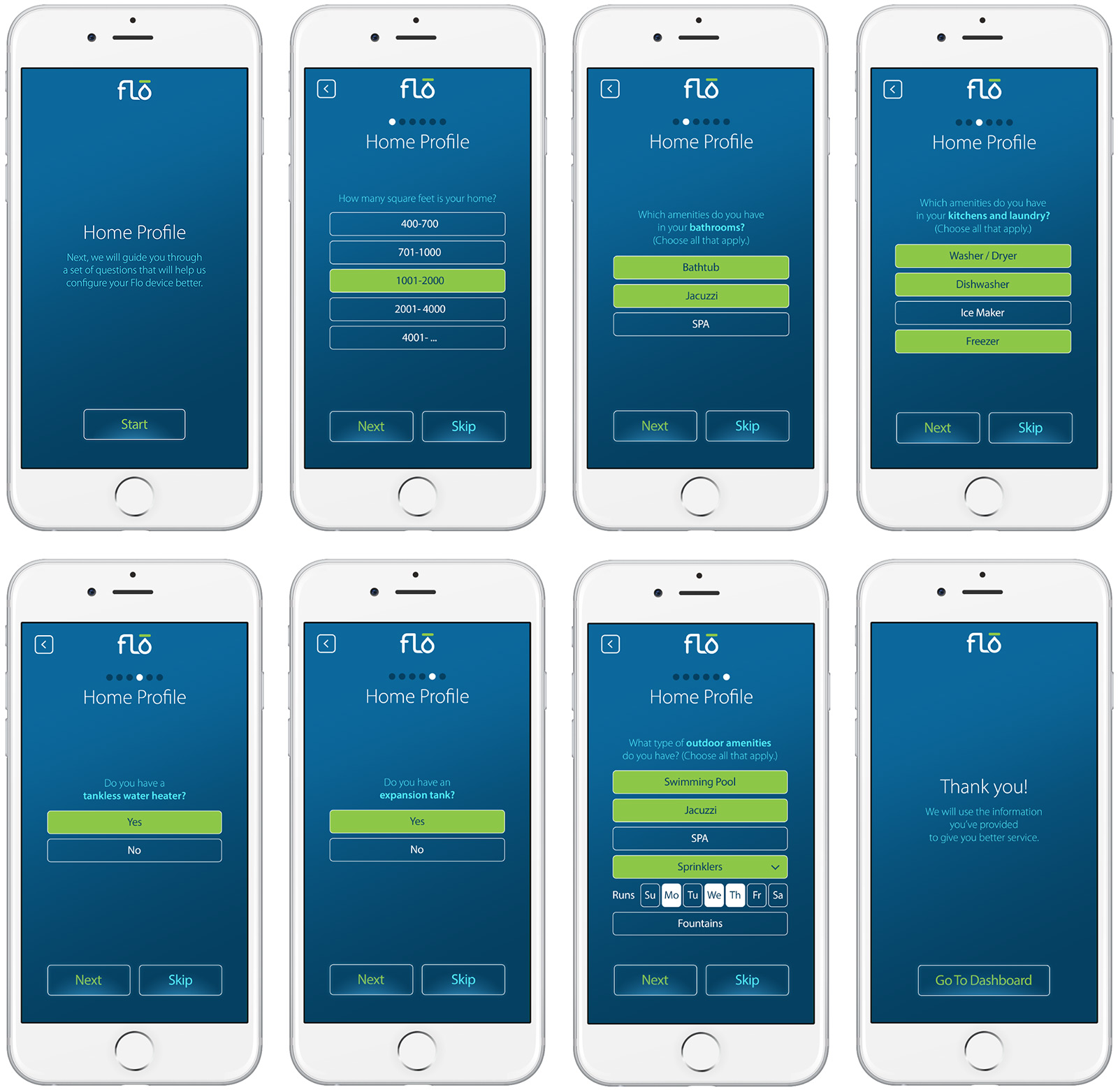 The Flo mobile app has many other screens, from installation steps to technical support.