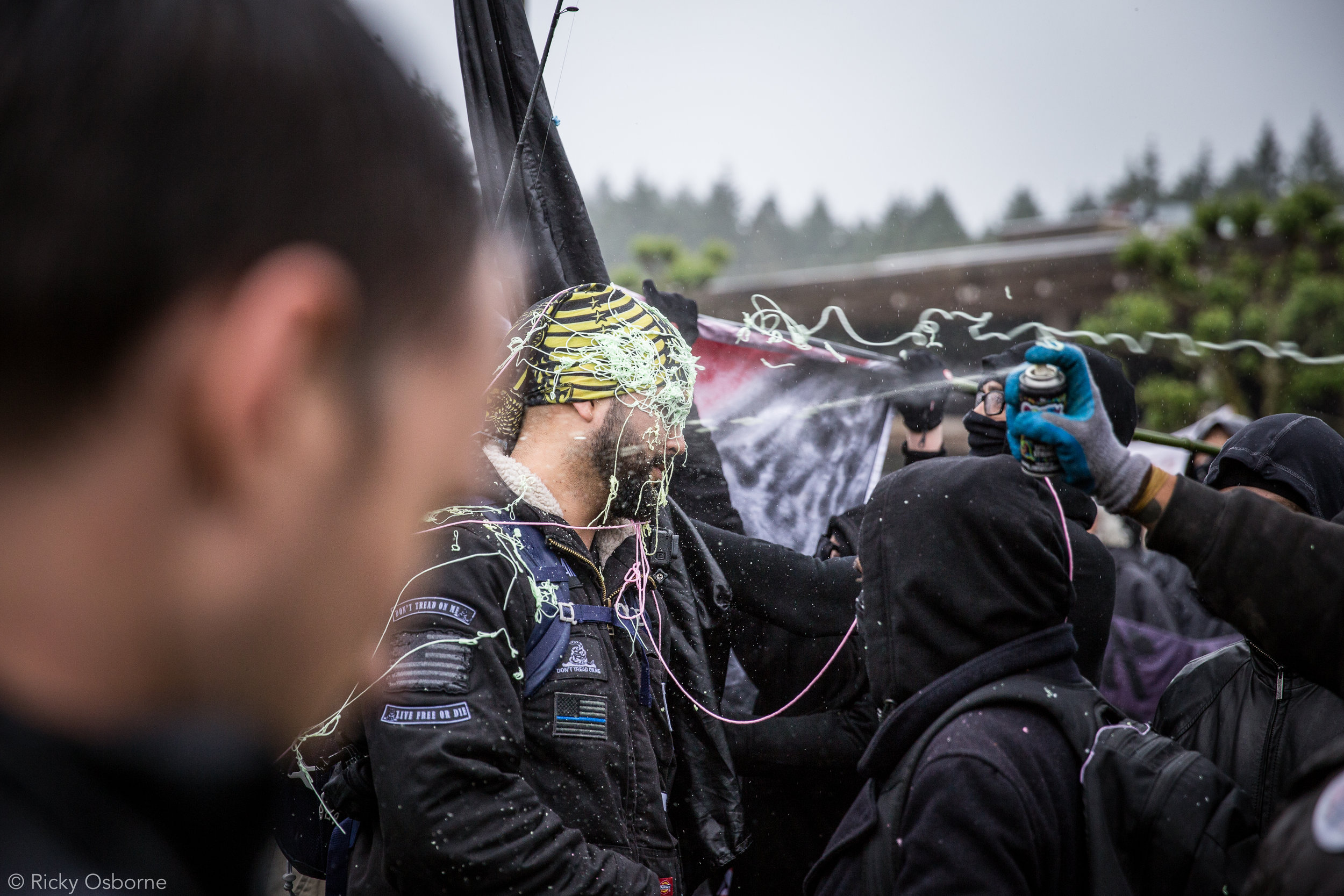 - June 15th, 2017 - Riot police, Patriot Prayer, and demonstrators gather at the Evergreen State College in Olympia, Washington.