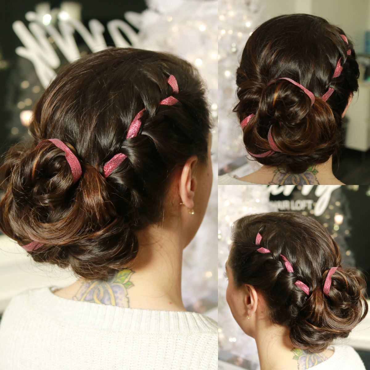 Deck your braids with festive holiday ribbon | Styled by Katie K