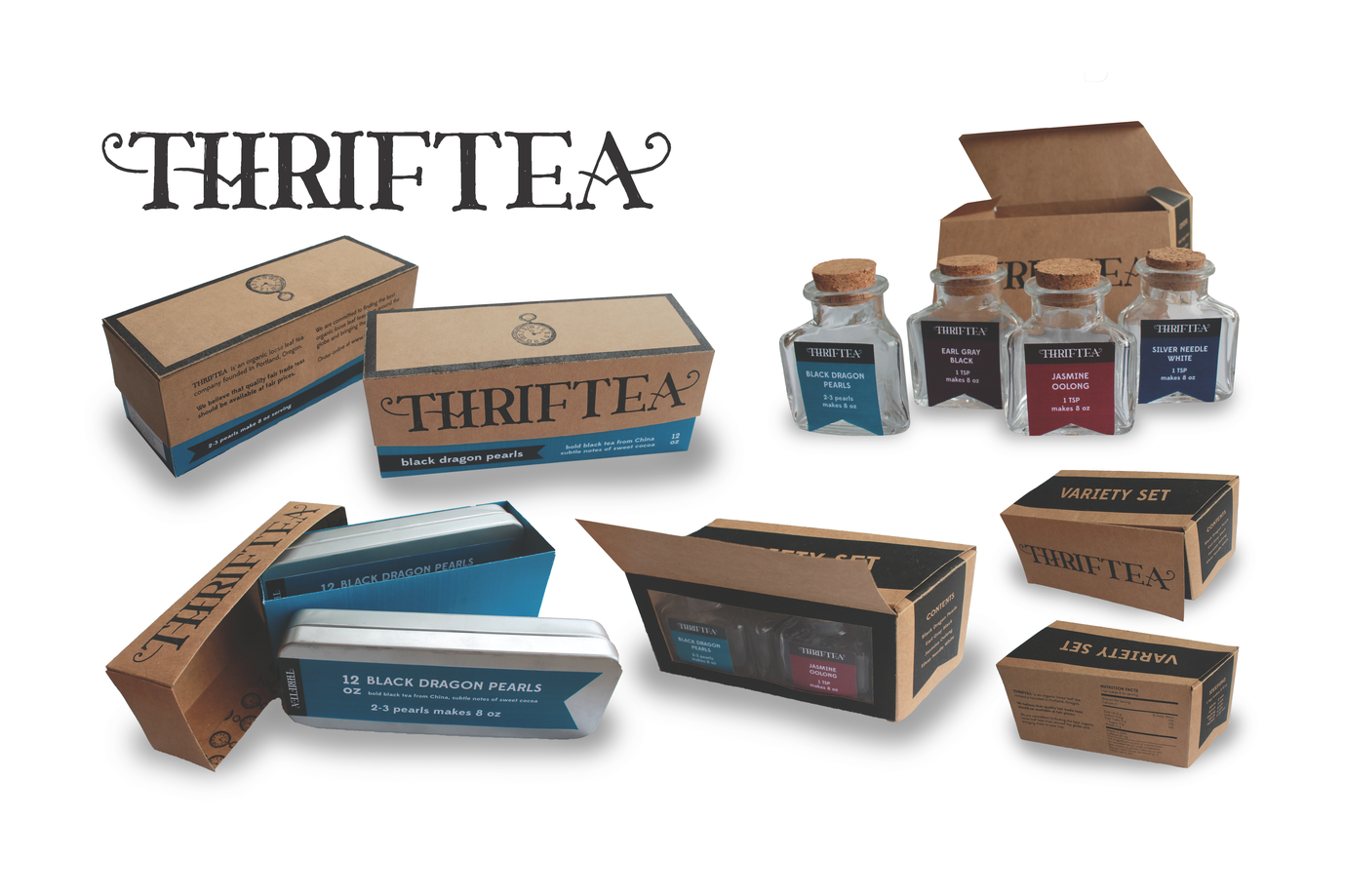 Branding and packaging for a fictional tea company for a class project.