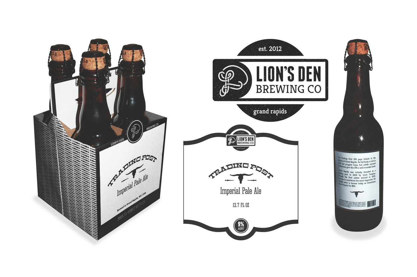Branding and packaging for a fictional craft brewery for a self-directed project.