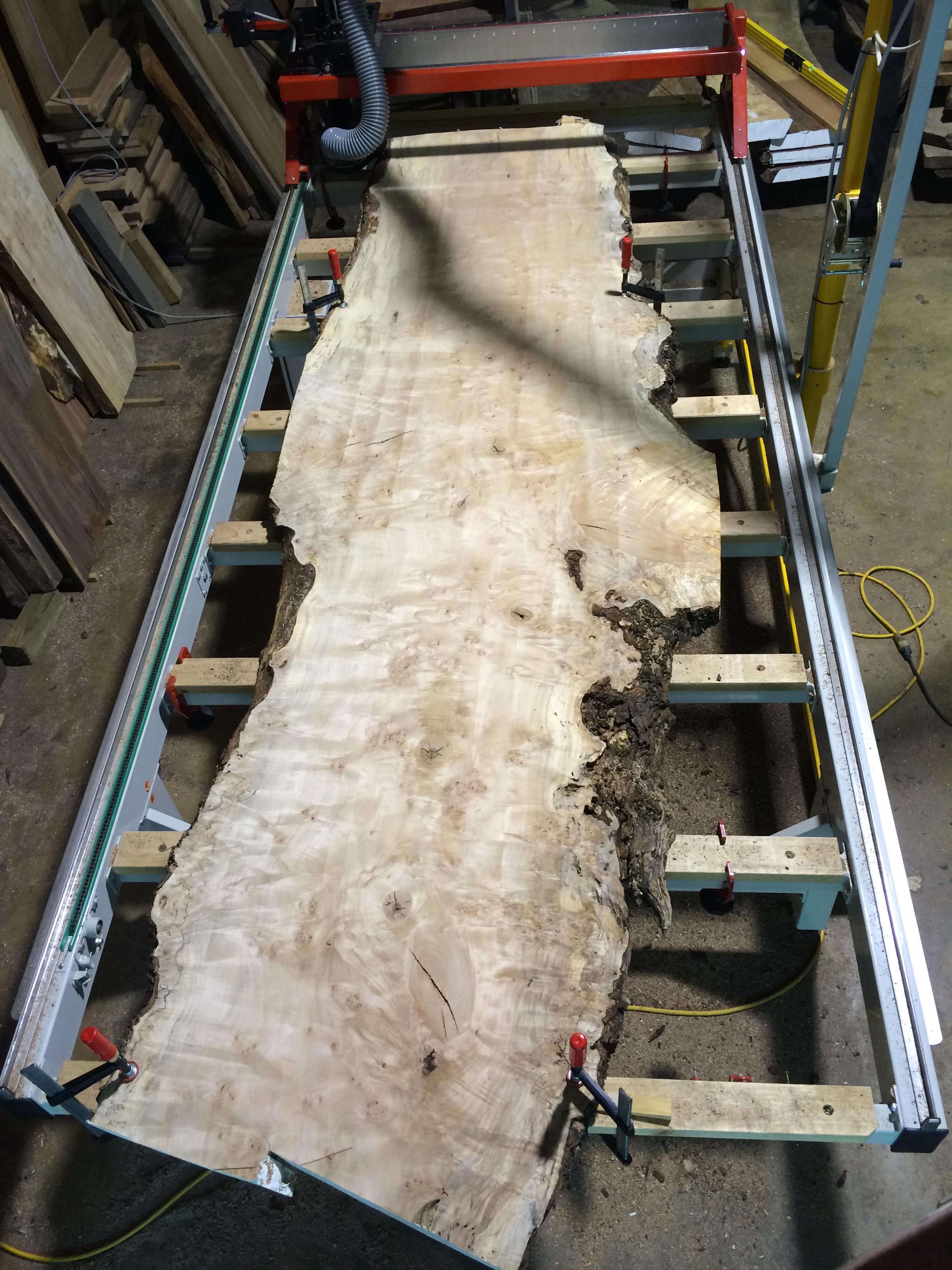 Surfacing a figured live edge maple slab