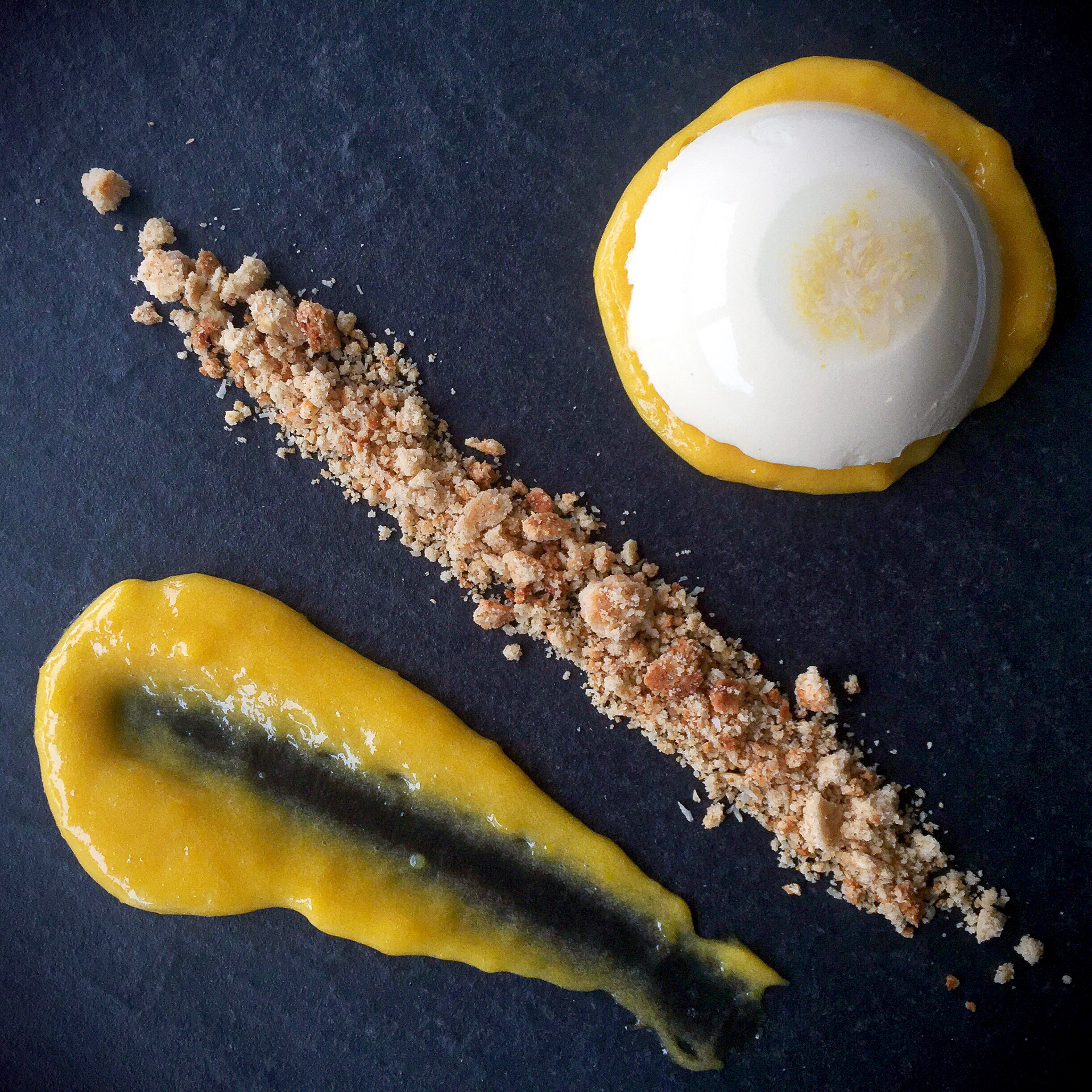 Low Carb Panna Cotta w Lemon Curd and Gingerbread Crumb