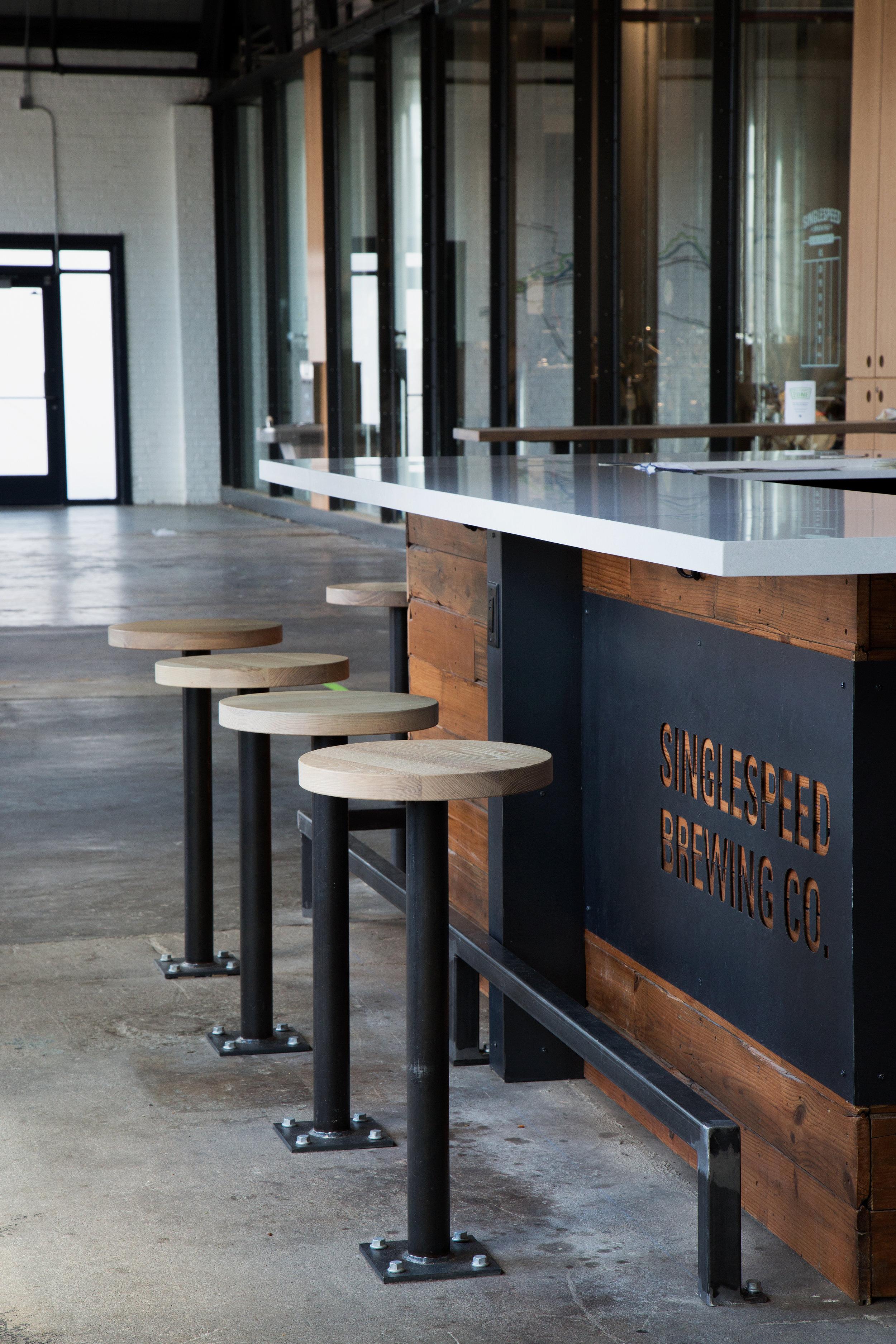 Solid ash wood bar stool seats